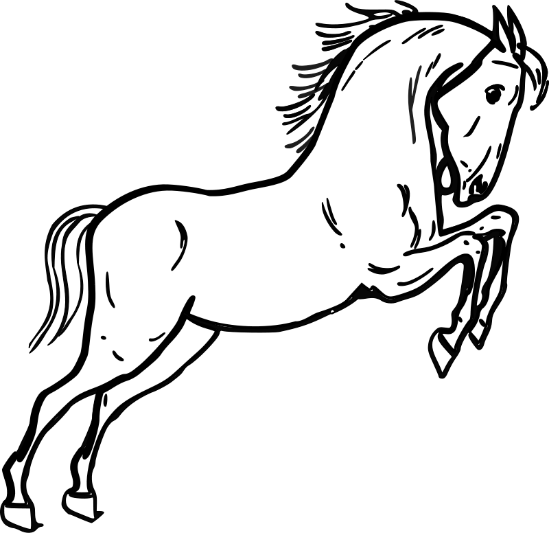 Horse outline. Free clip art jumping