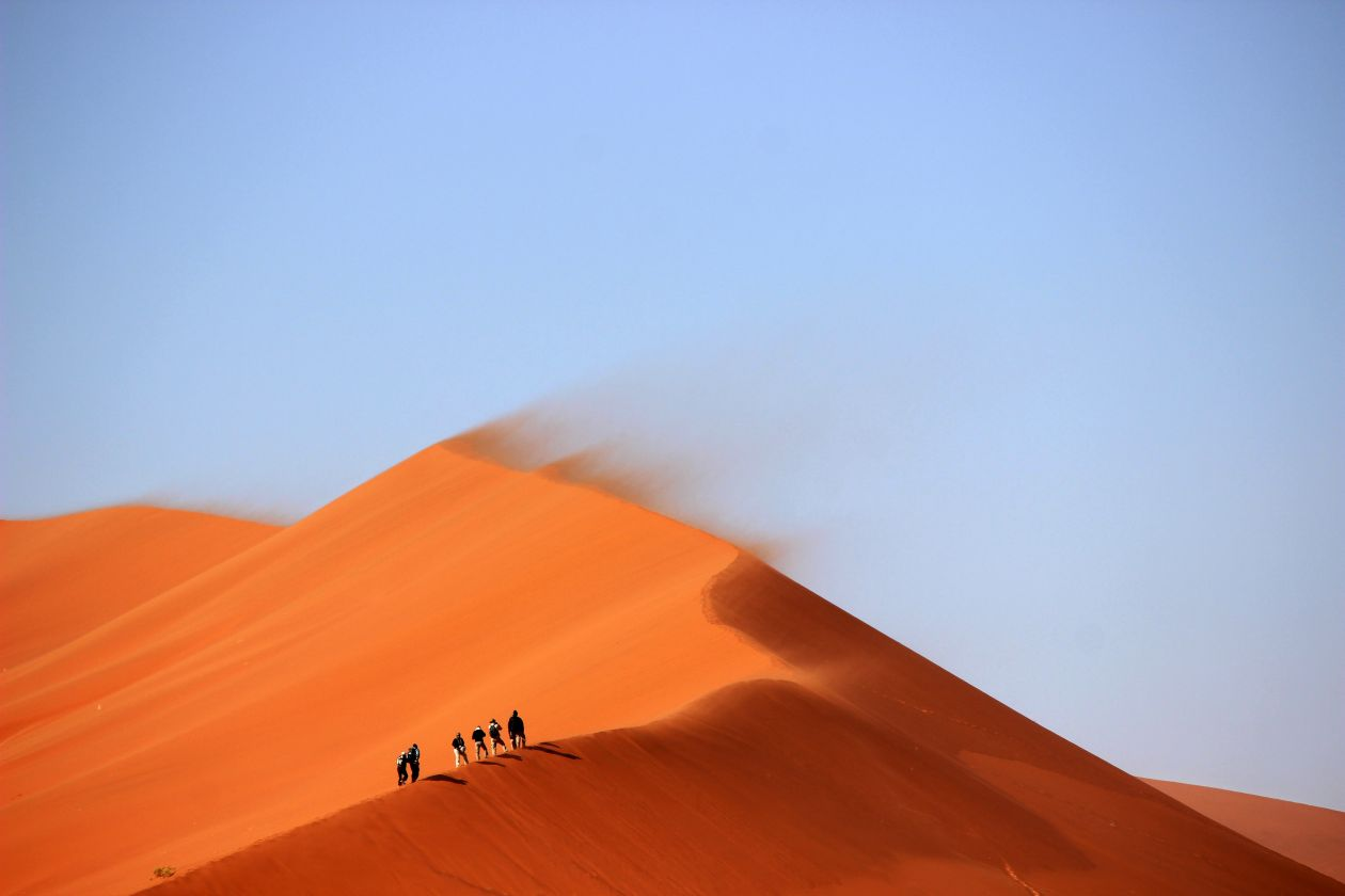 "Free photo ""Desert Sand Dune Orange Blue Sky"""