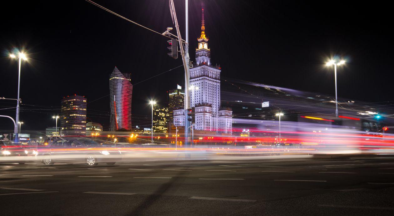 """Free photo """"Warsaw traffic at night"""""""