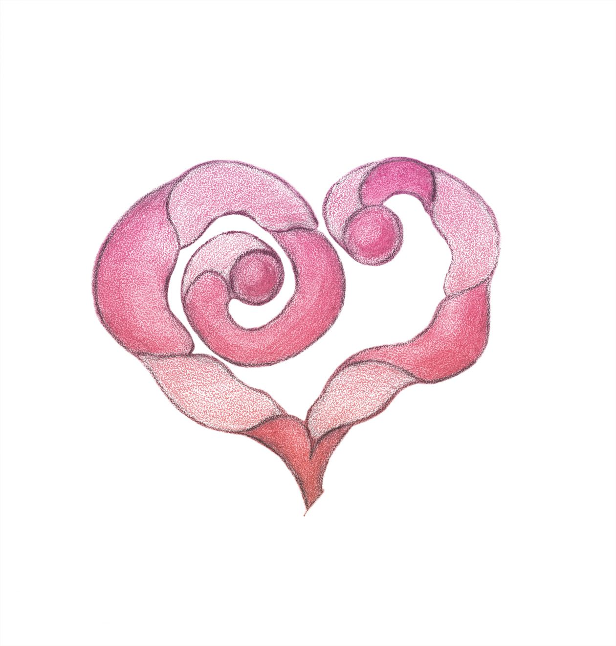 "Free photo ""Stylized heart. Freehand drawing with crayons."""