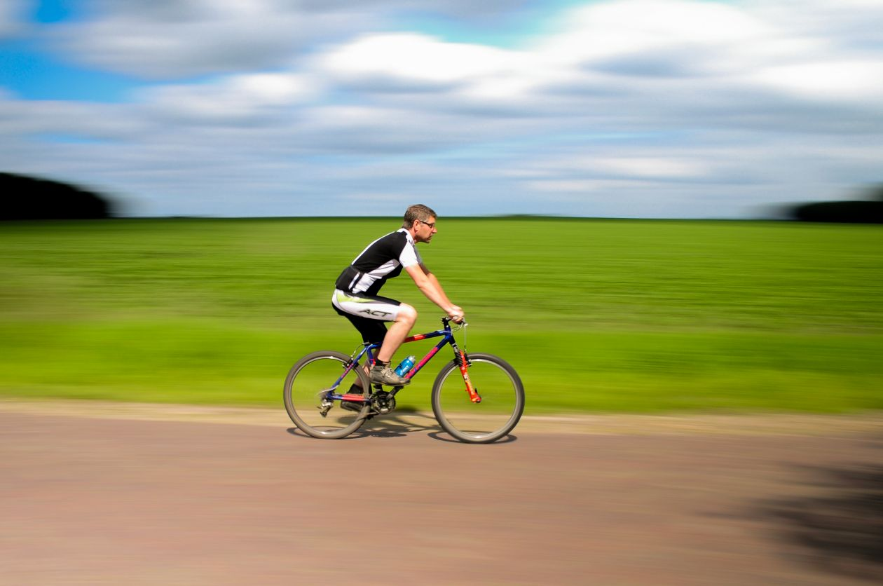"Free photo ""Cyclist on the move"""