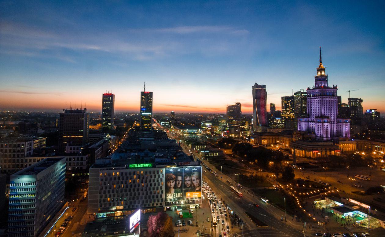 "Free photo ""Downtown Warsaw at night"""