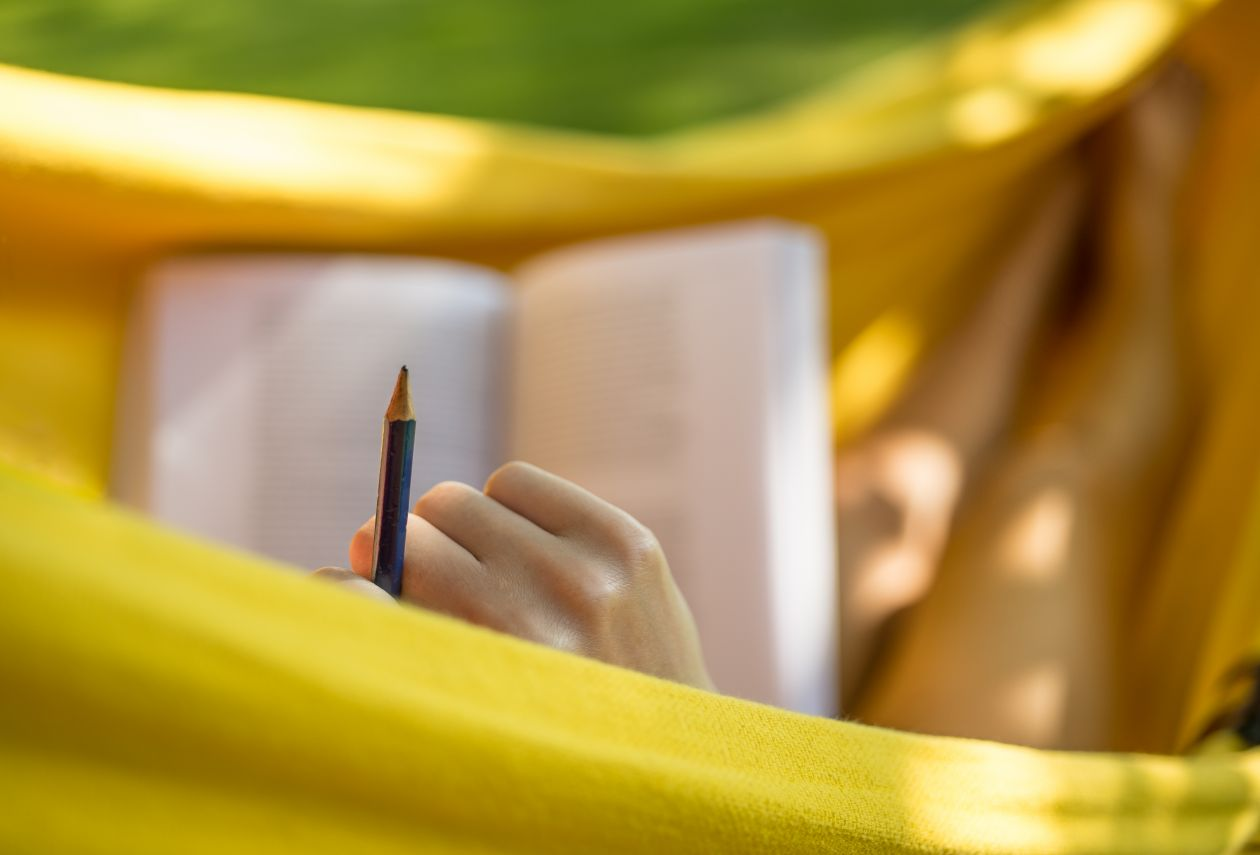 "Free photo ""Studying in a hammock"""