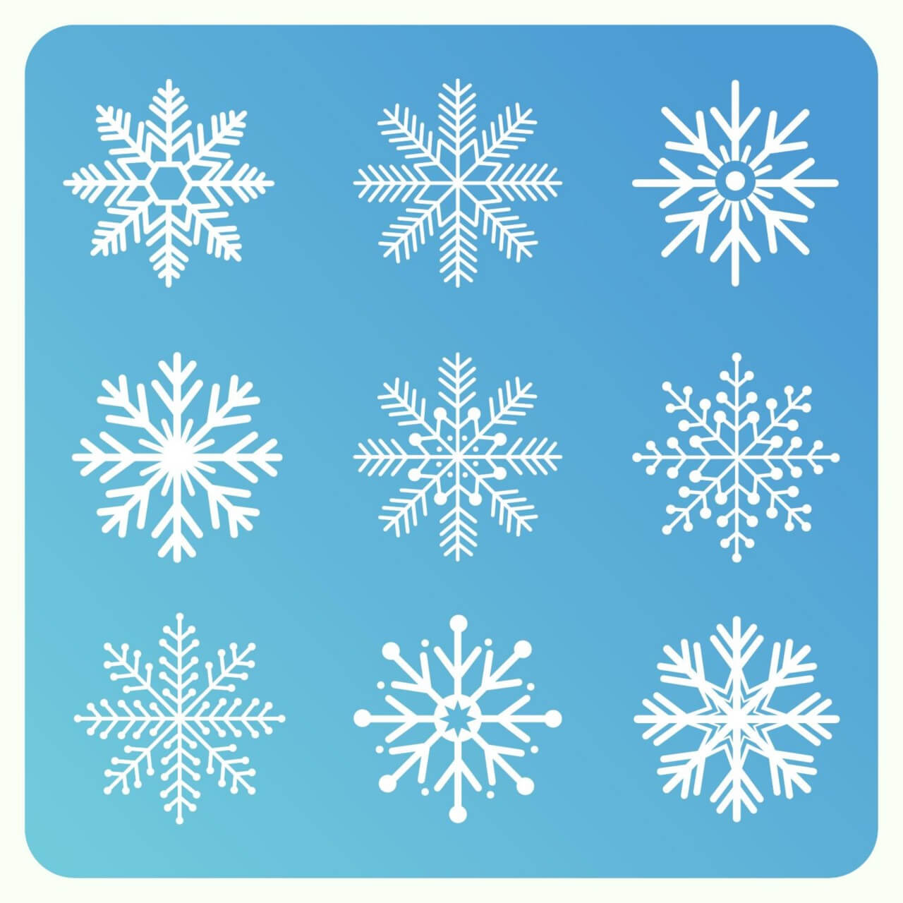 "Free vector ""Christmas background with set of snowflakes"""