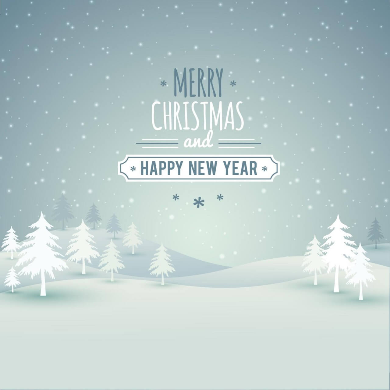 """Free vector """"Christmas landscape with typography"""""""