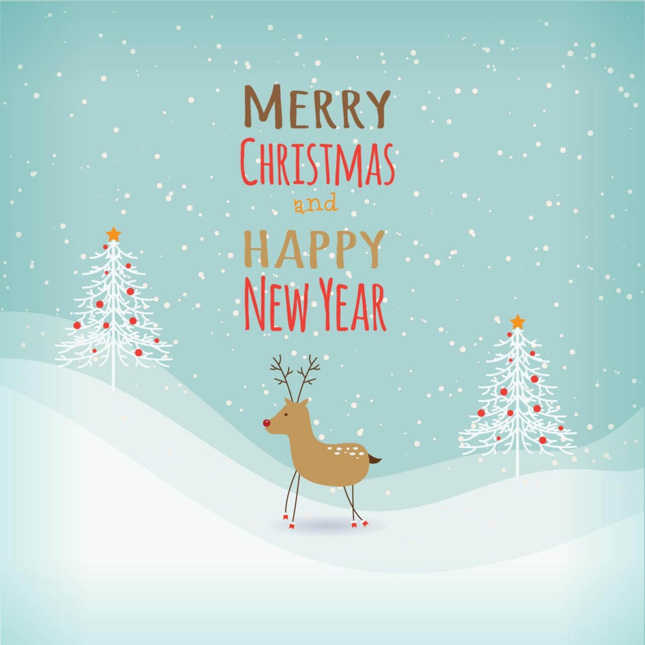 """Free vector """"Christmas background with typography and ren deer"""""""
