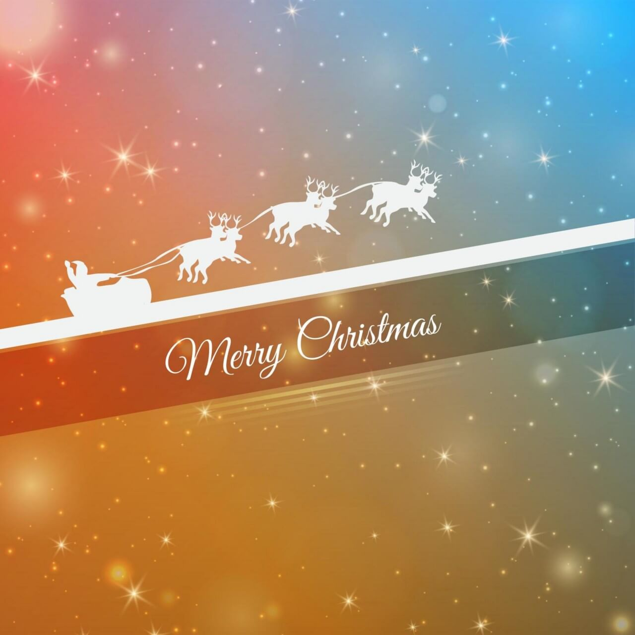 """Free vector """"Christmas background with santa and sledge"""""""