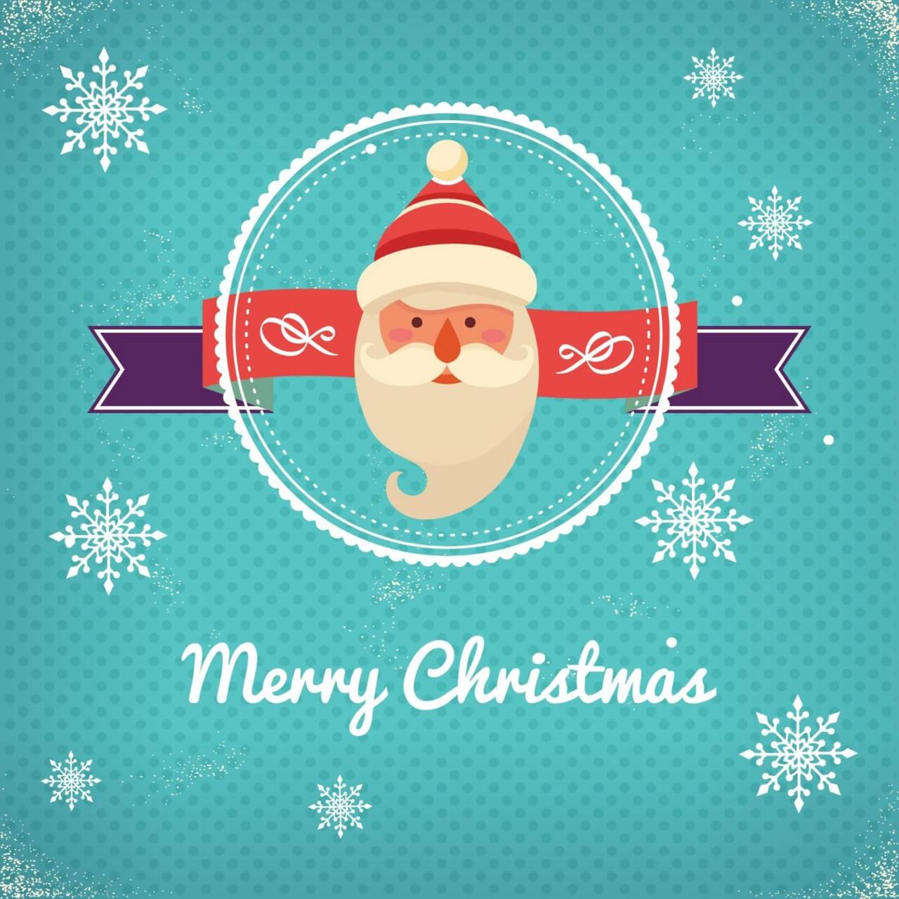 """Free vector """"Christmas background with typography and badge and santa"""""""