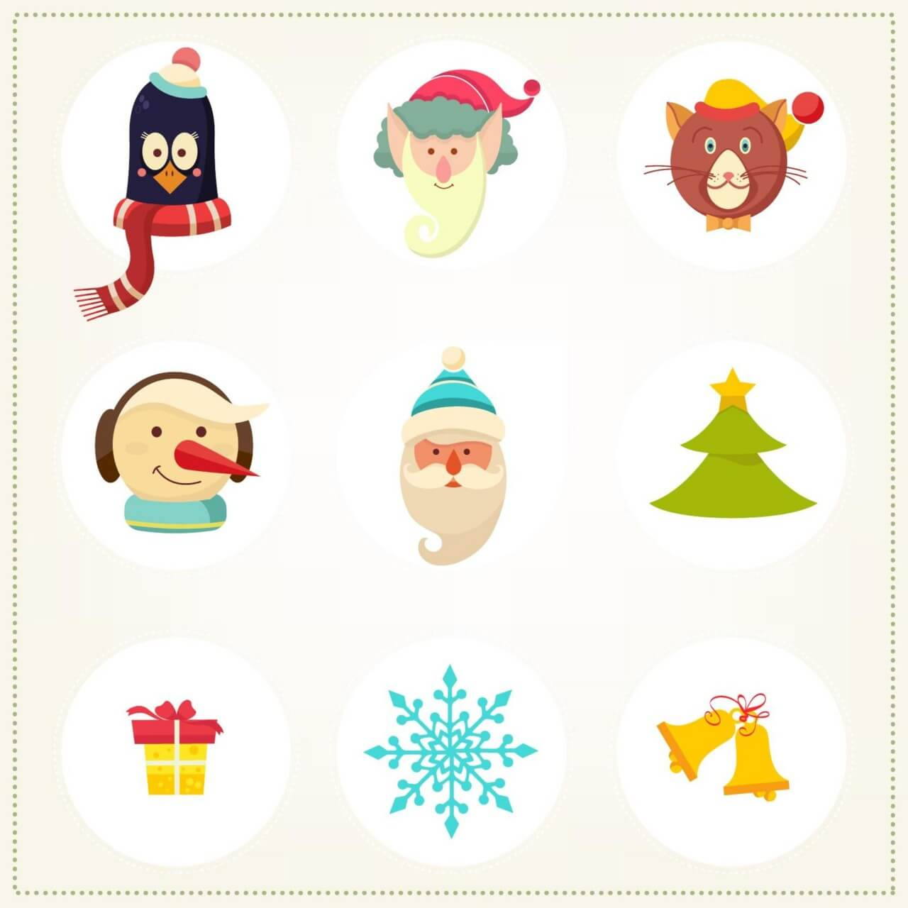 """Free vector """"Christmas background with christmas icons"""""""