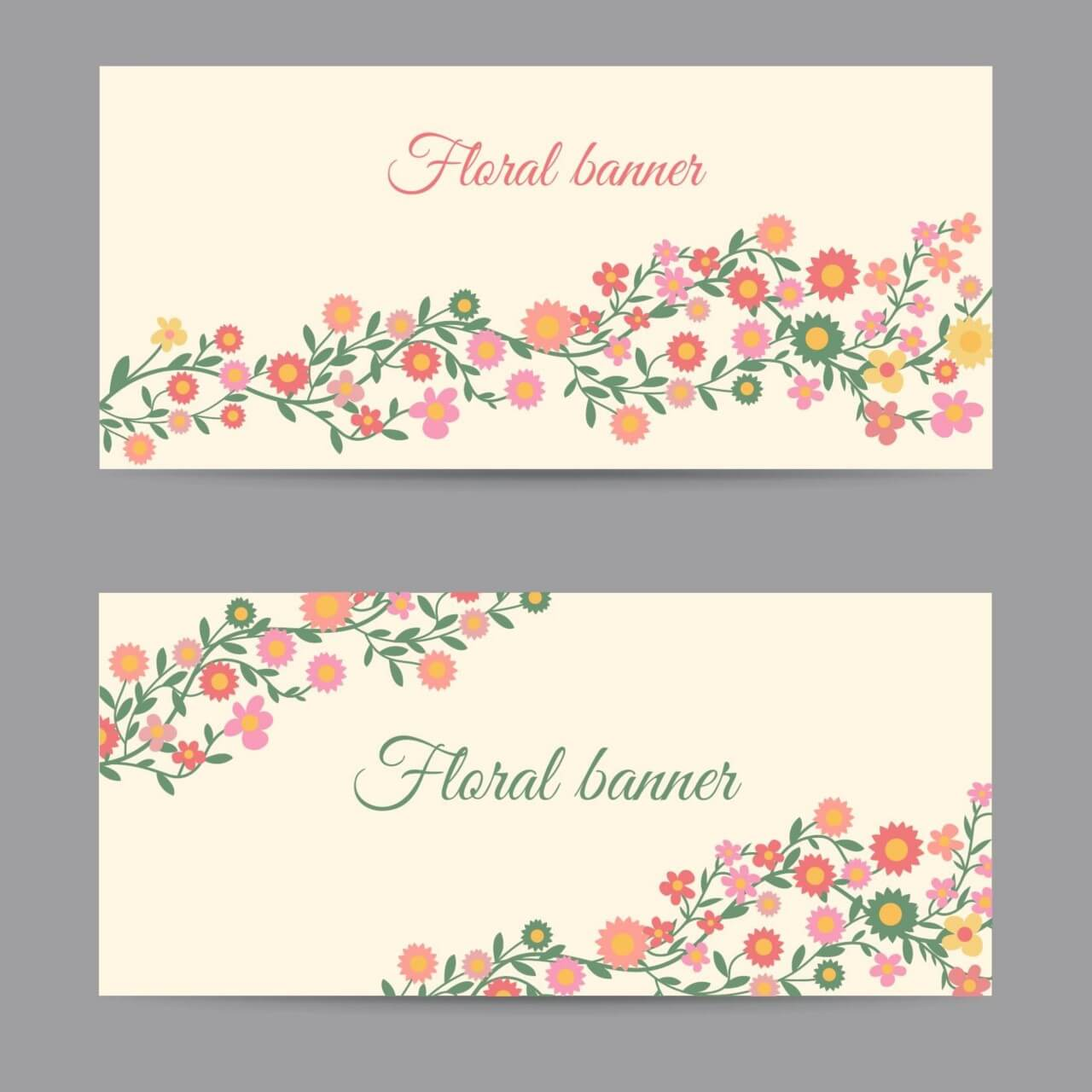 """Free vector """"Floral banners"""""""
