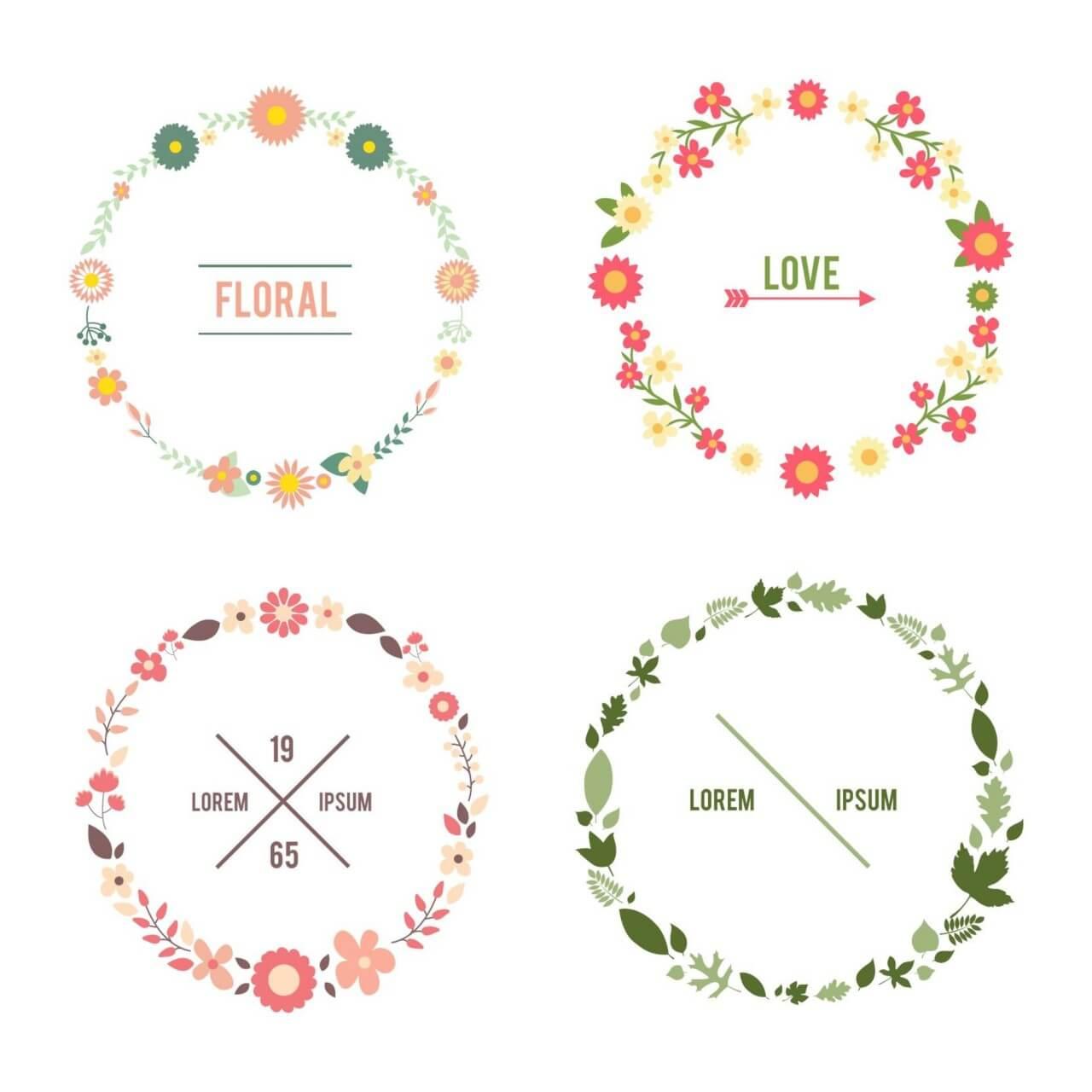 """Free vector """"Floral frame set"""""""