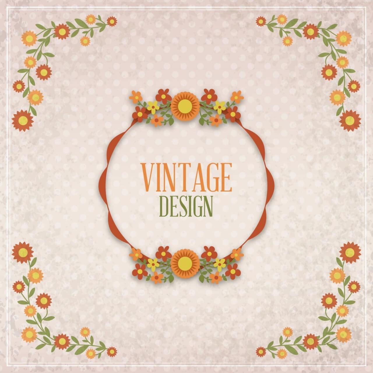 """Free vector """"Vintage floral illustration"""""""