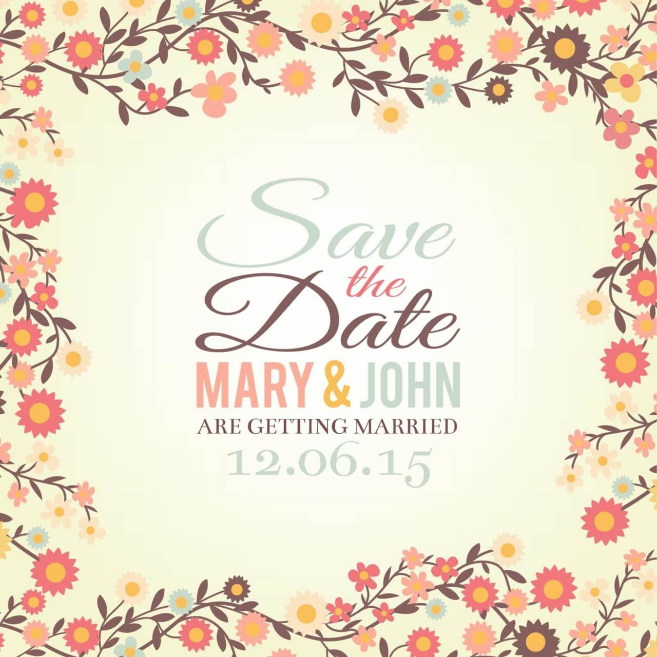 """Free vector """"Save the date floral card"""""""