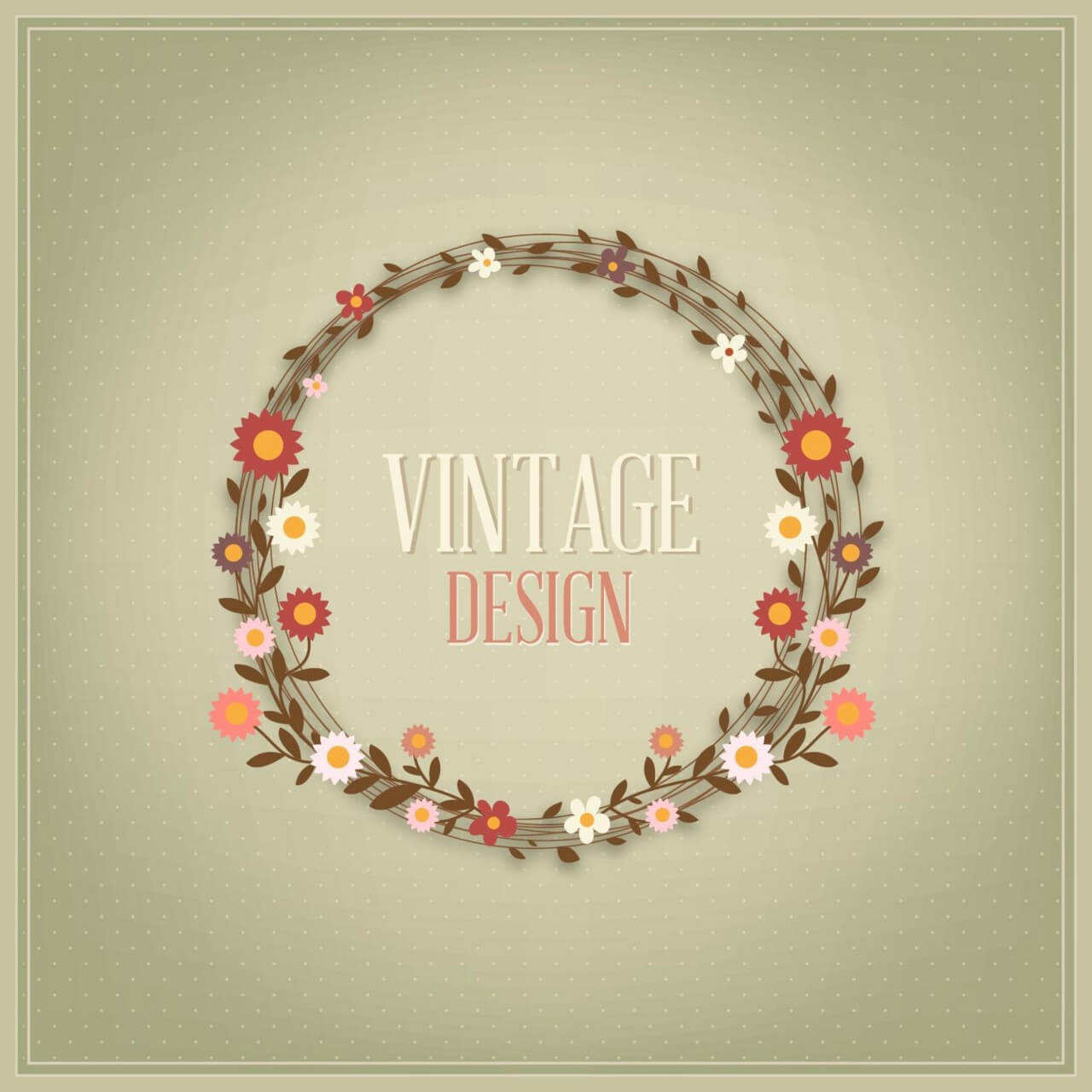 "Free vector ""Floral vintage card"""