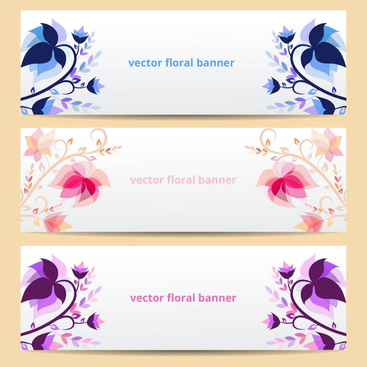 "Free vector ""Floral vector banners"""