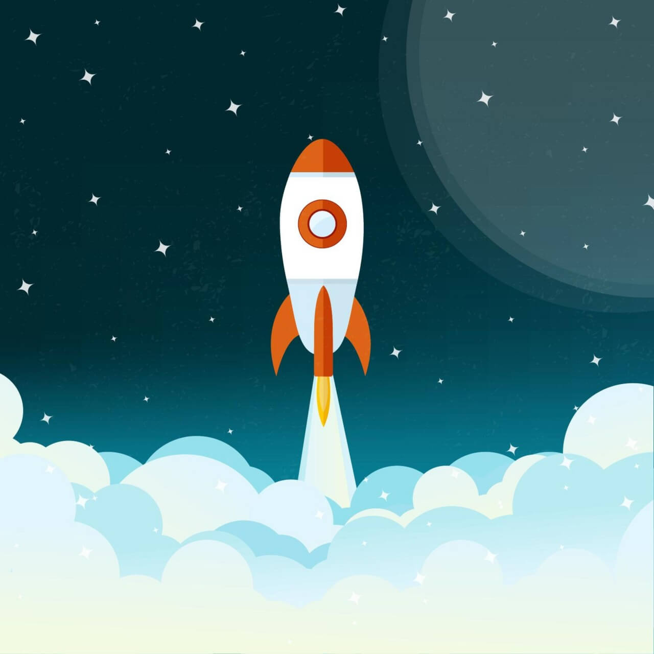 "Free vector ""Space rocket flying illustration"""
