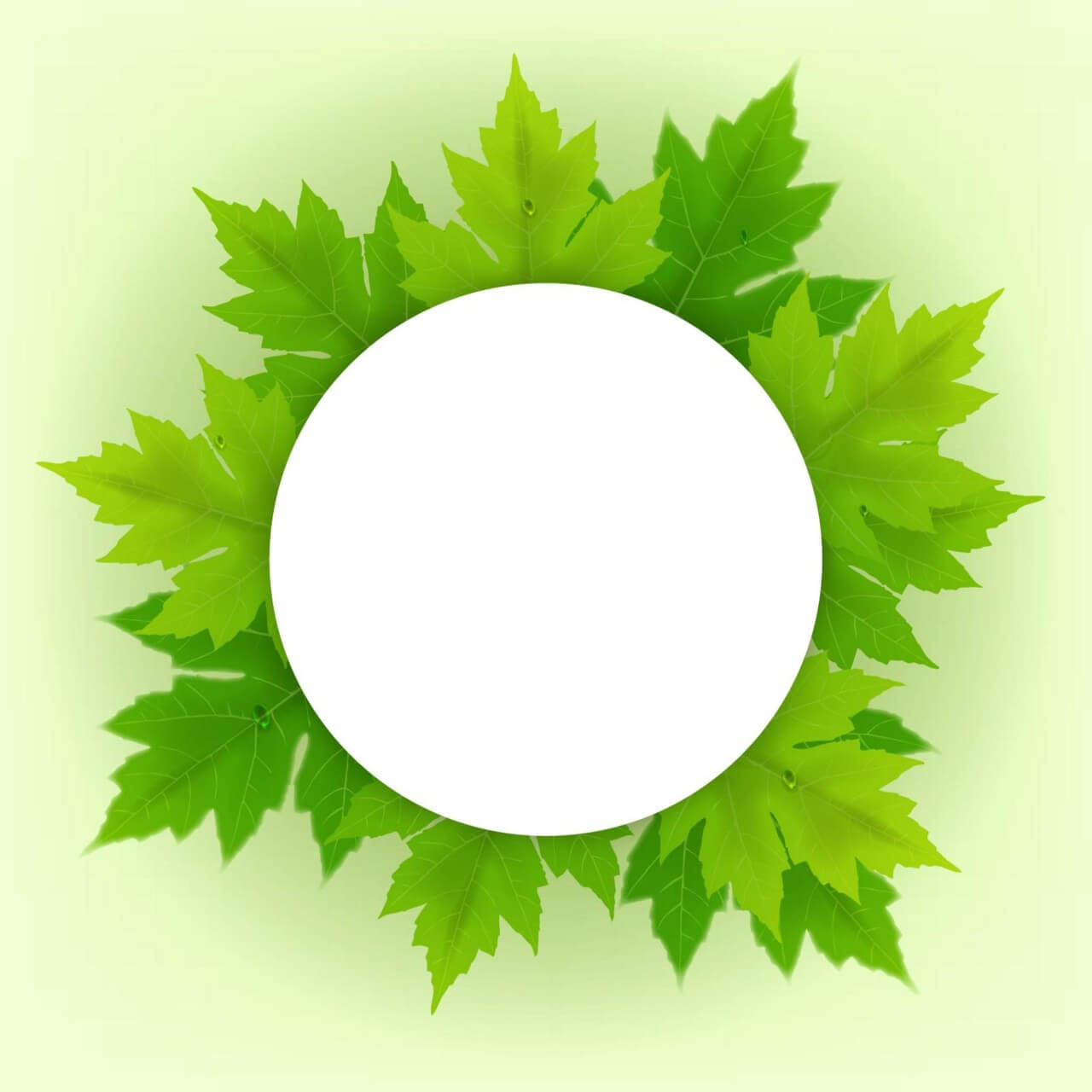 "Free vector ""Badge with fresh green leaves"""