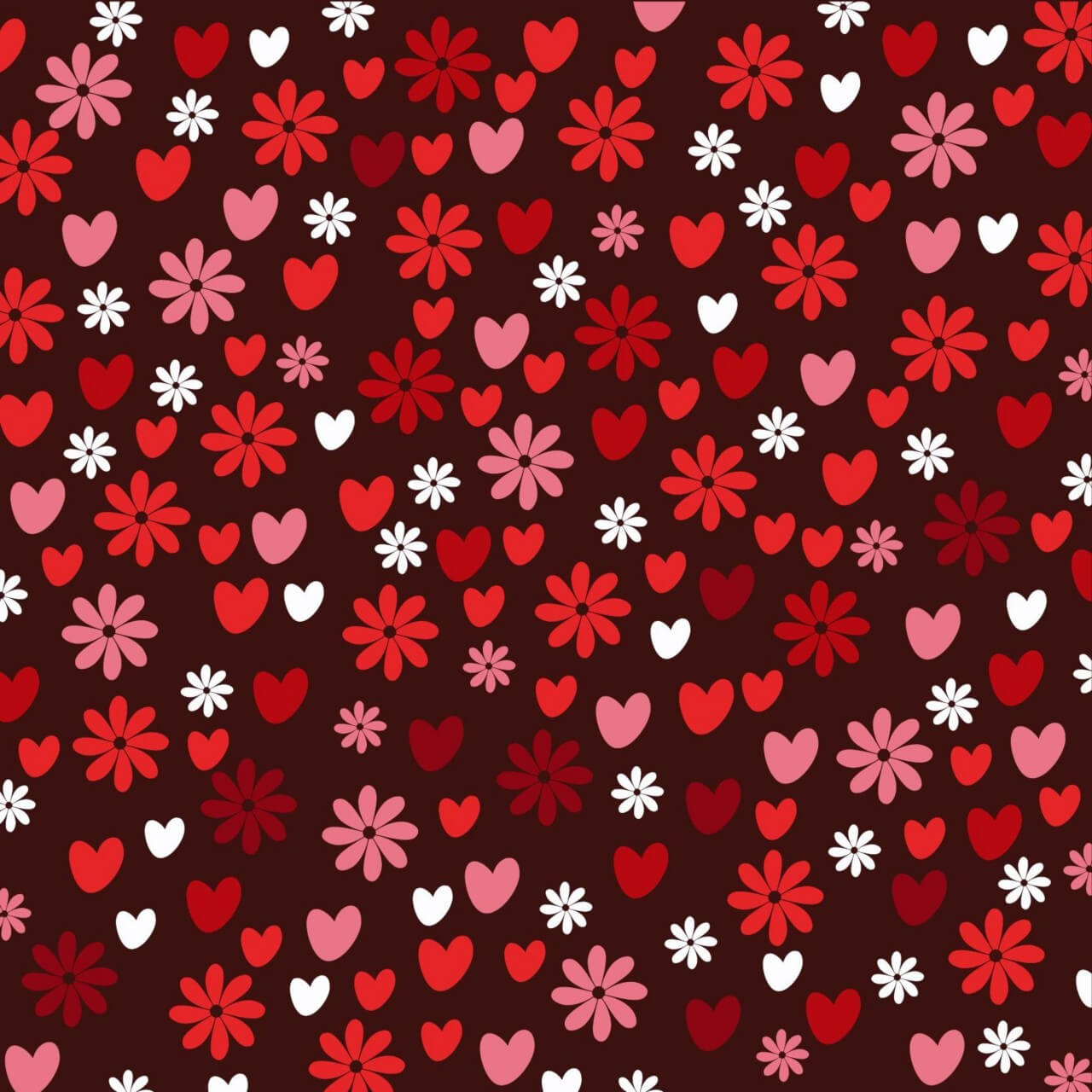 "Free vector ""Love pattern with hearts and flowers"""
