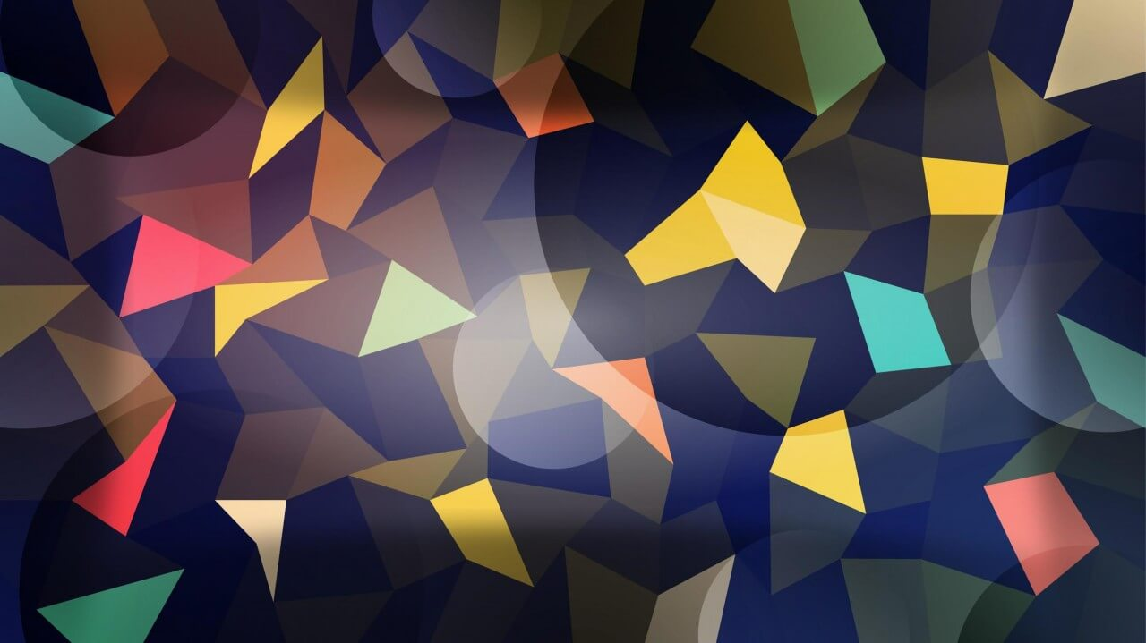 "Free vector ""Colorful Polygons with Circles"""
