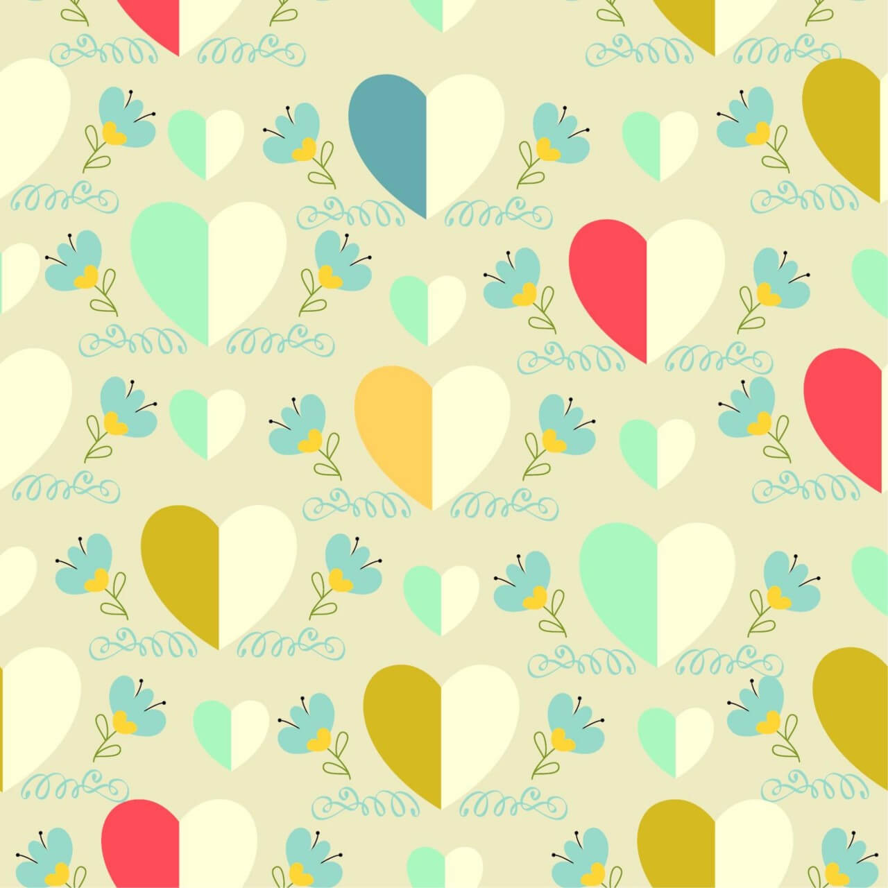 """Free vector """"Love pattern with hearts"""""""