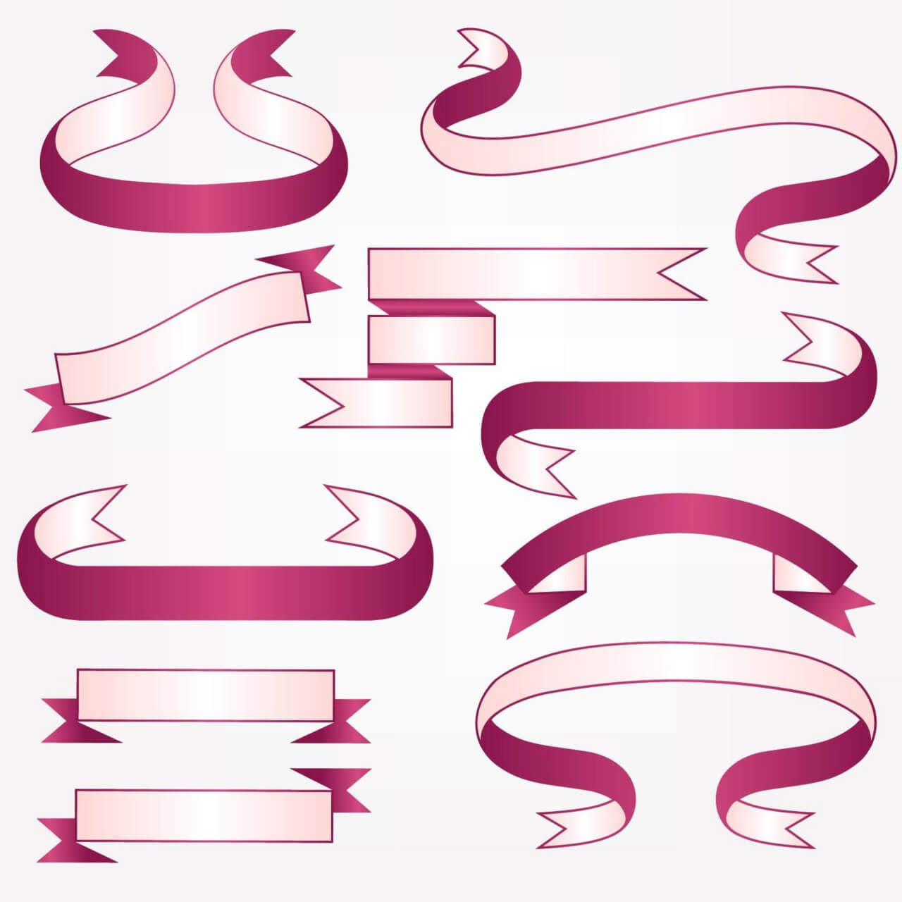 "Free vector ""Vector set of ribbons"""