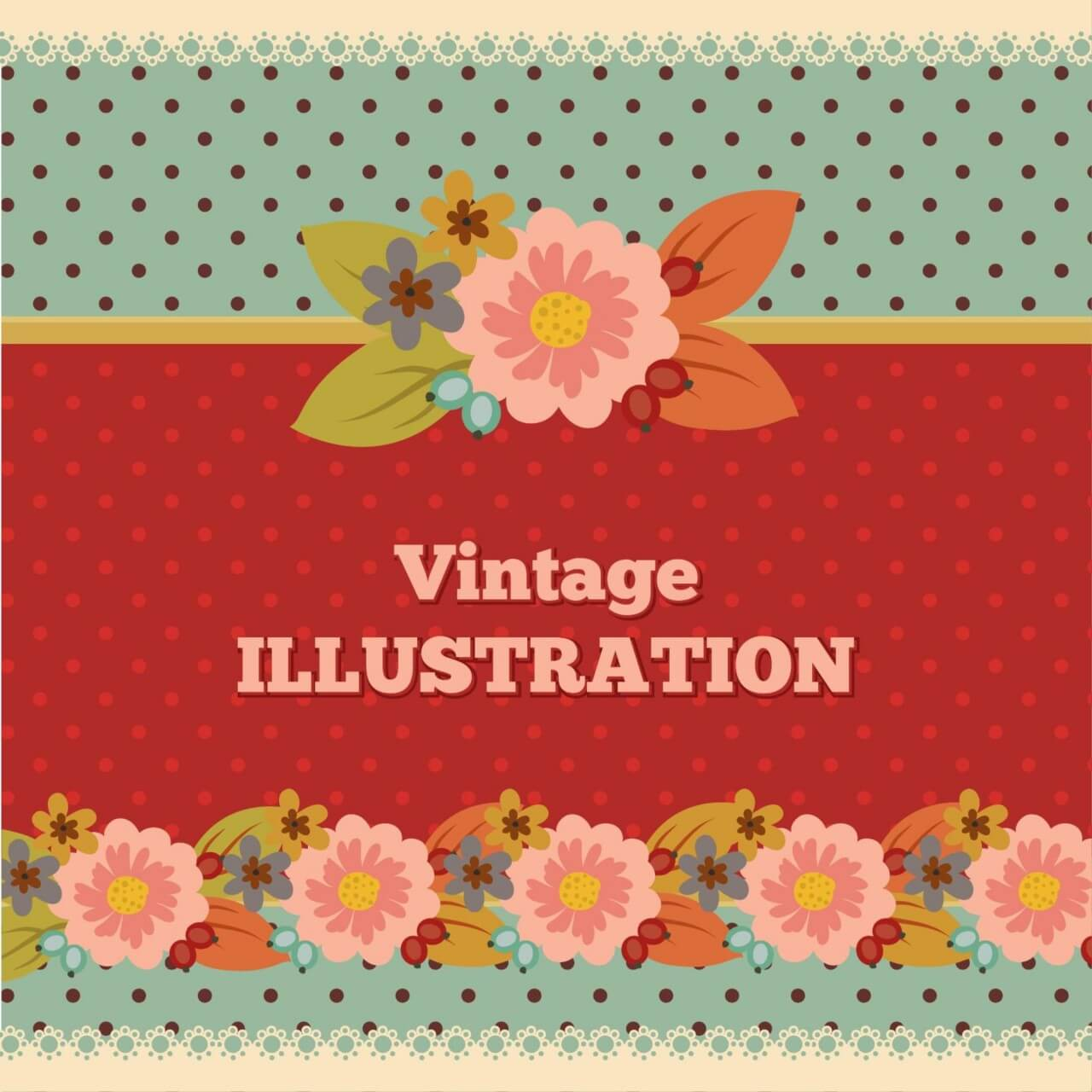 "Free vector ""Vintage flower illustration with typography"""