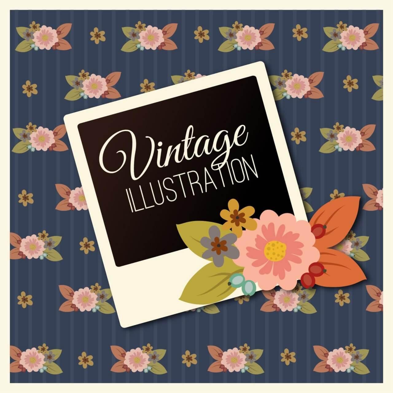 "Free vector ""Vintage flower illustration with photoframe"""