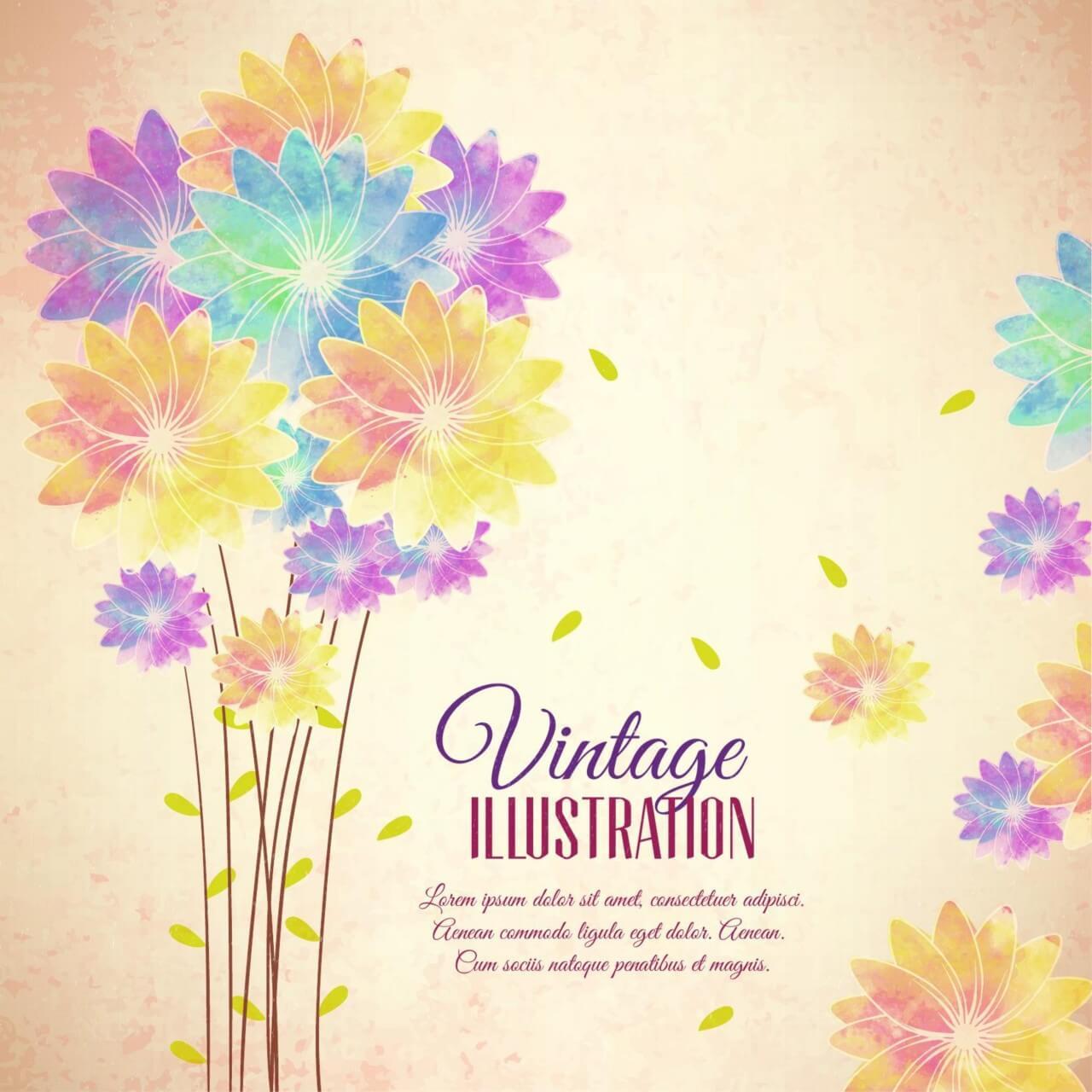 """Free vector """"Vintage flower illustration"""""""