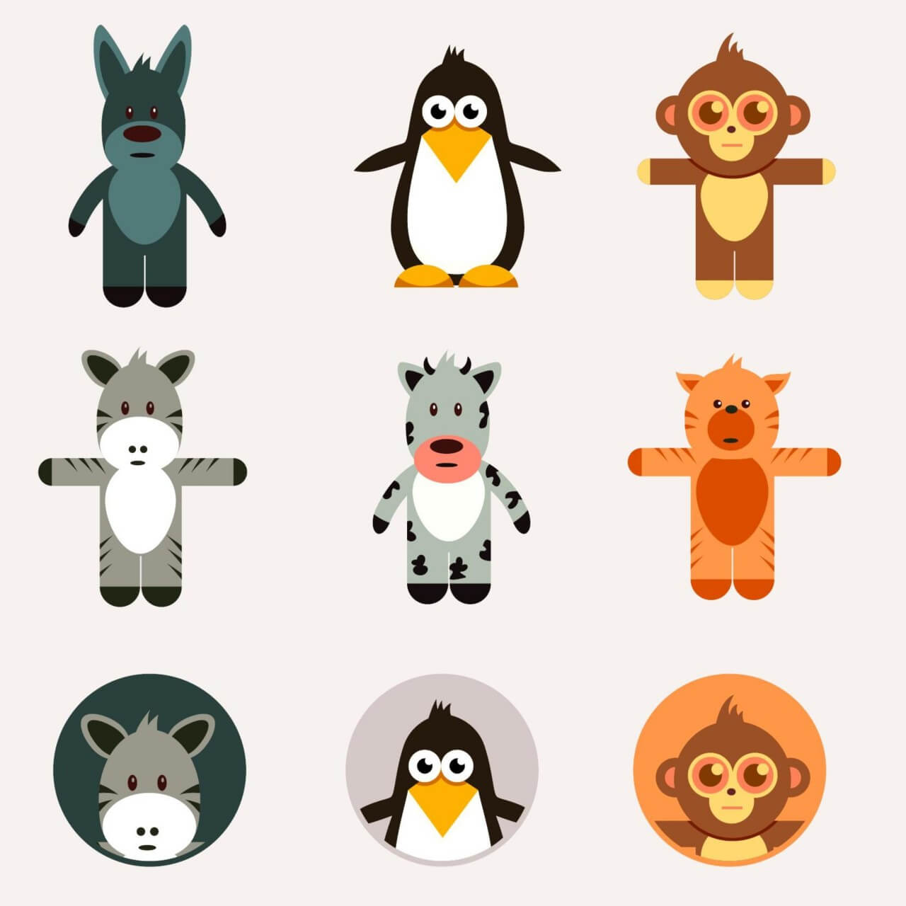 "Free vector ""Cute animals vector set"""