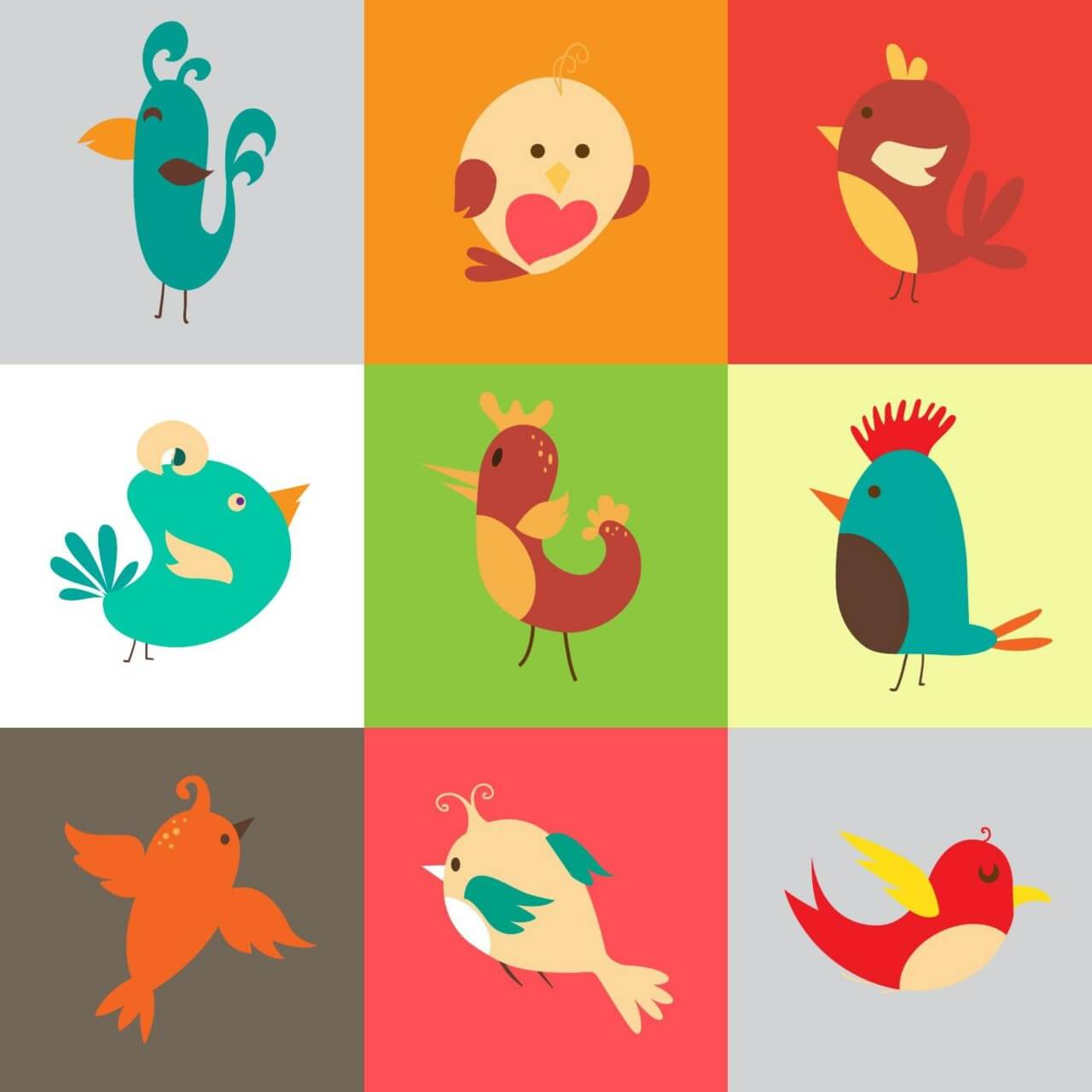 "Free vector ""Cartoon vector set with birds"""