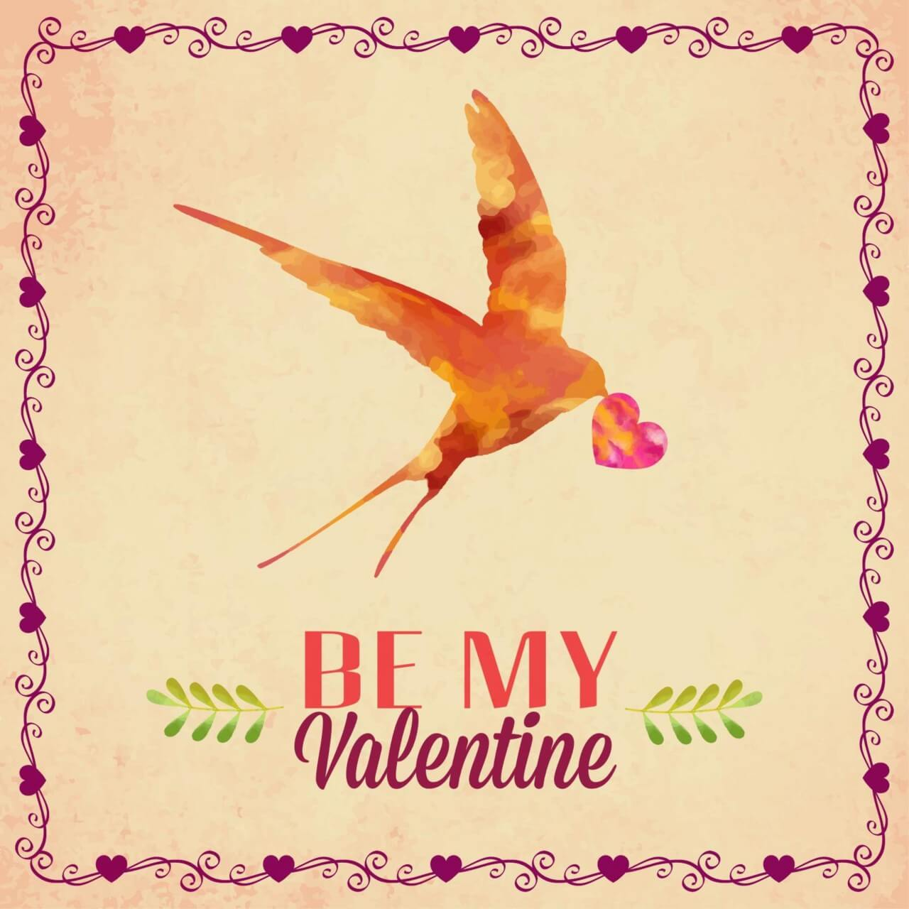 "Free vector ""Happy Valentine's Day vector illustration with bird"""