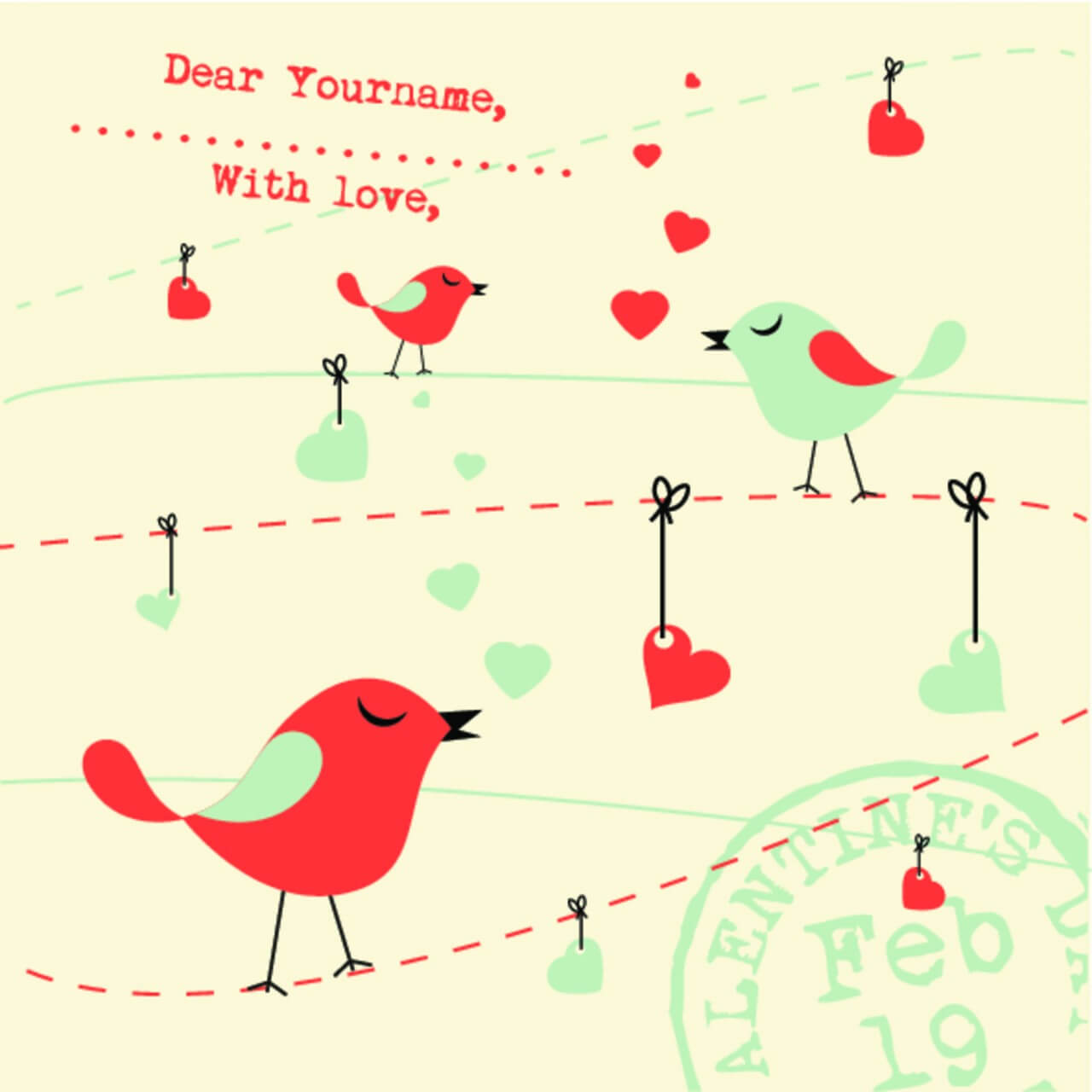 "Free vector ""Valentines Card Background with Birds"""