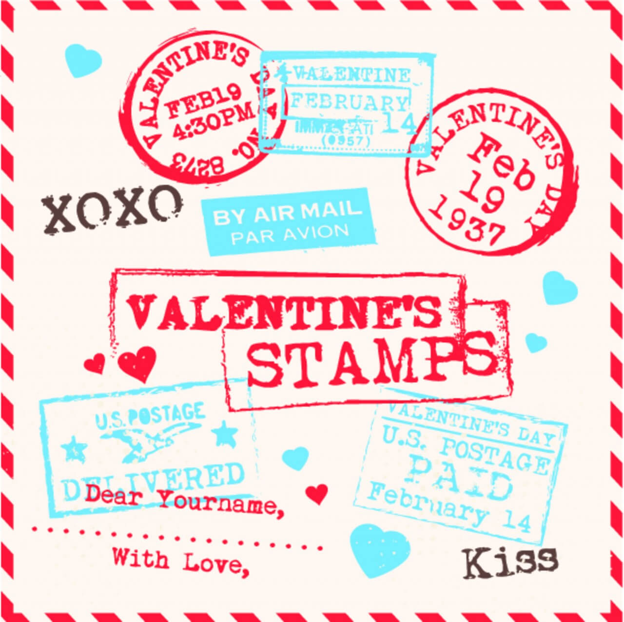 "Free vector ""Various Valentines Stamps Background"""
