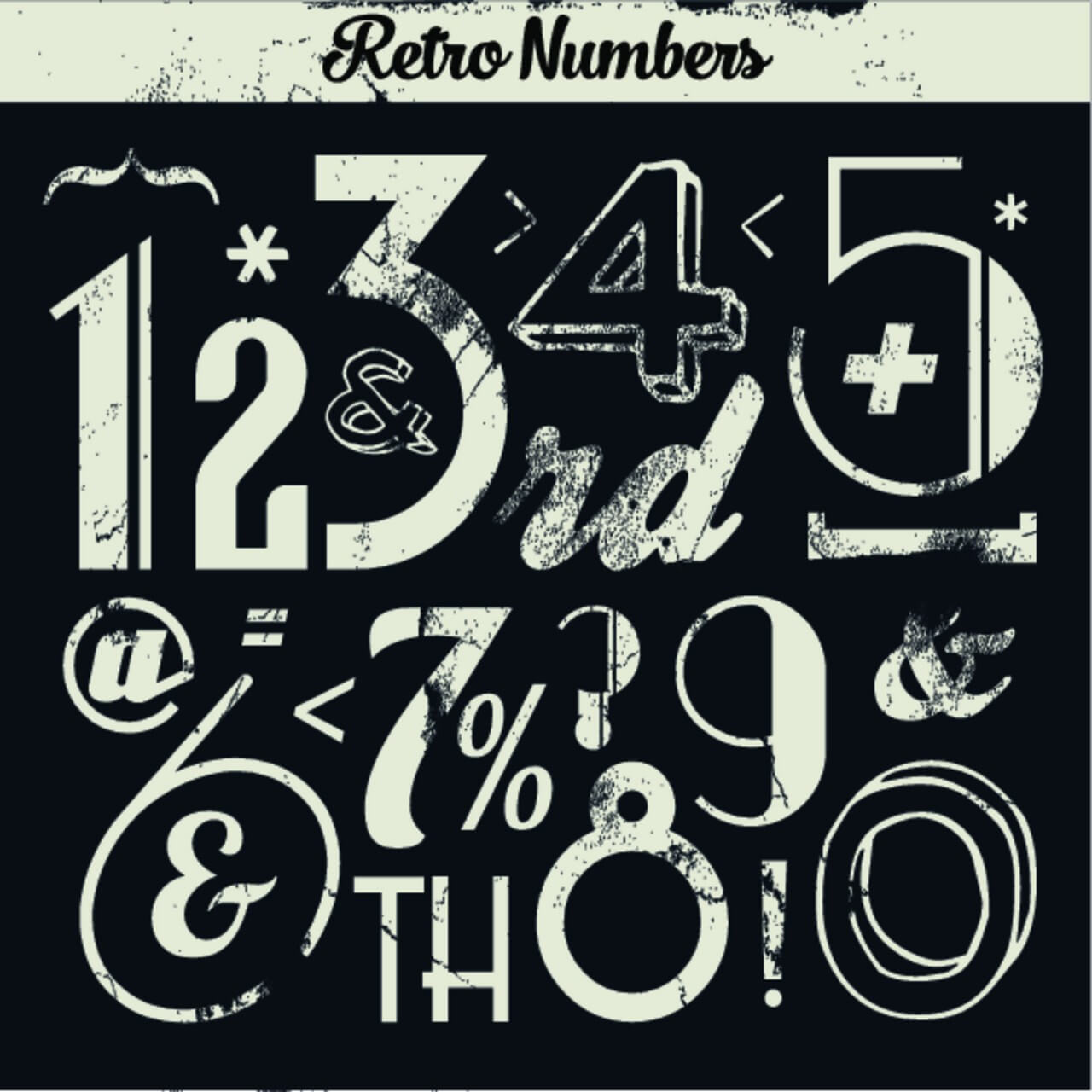 "Free vector ""Various Vintage Number Collection"""