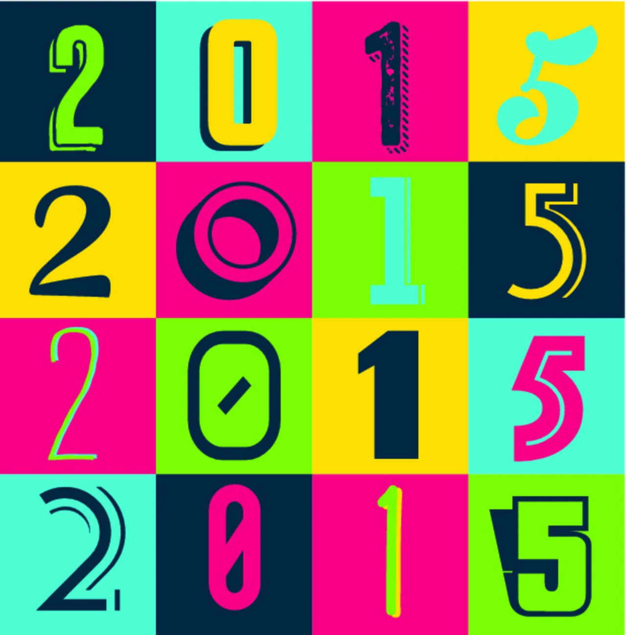 "Free vector ""Colorful 2015 New Year Poster Background"""