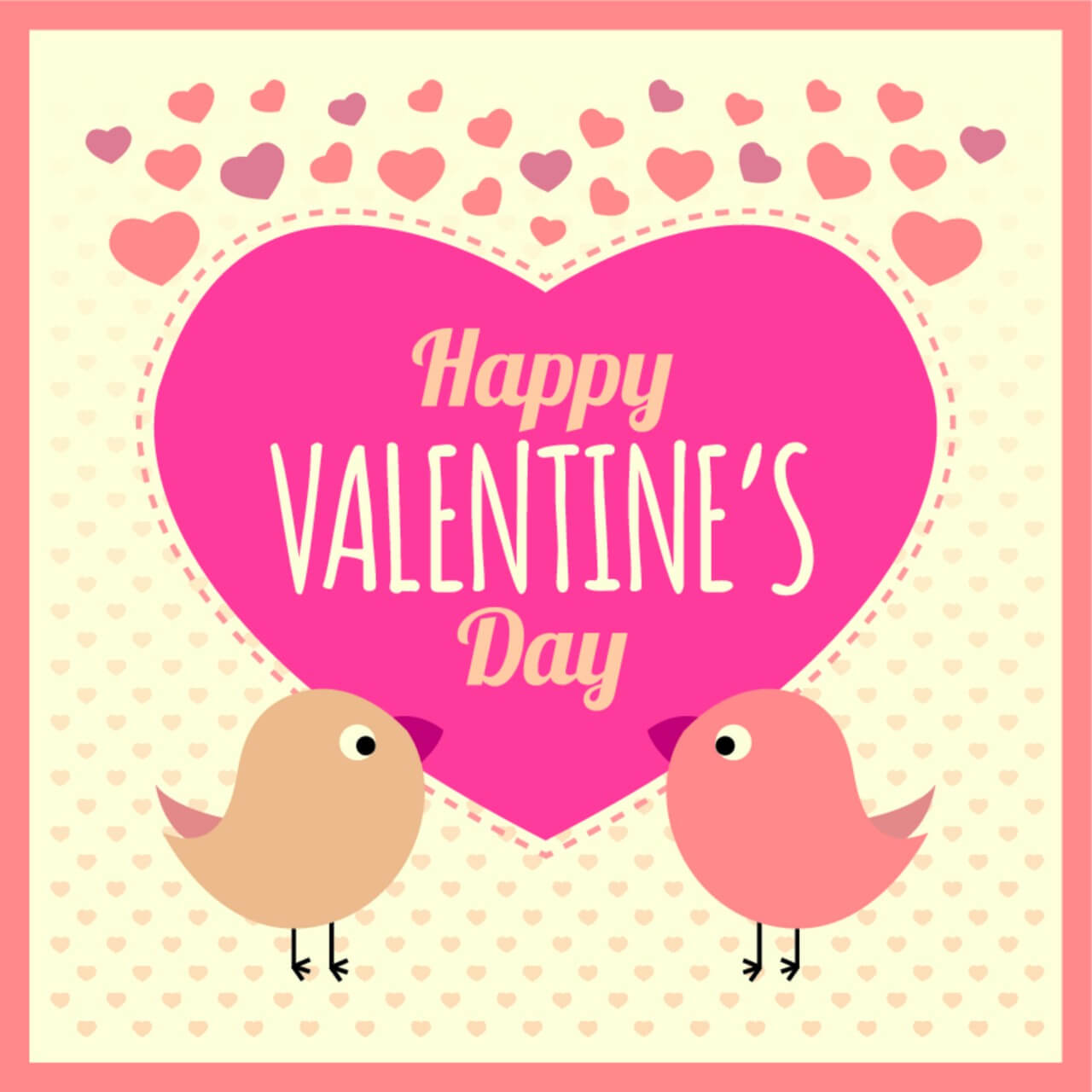 "Free vector ""Valentines Card Background with Birds and Text"""