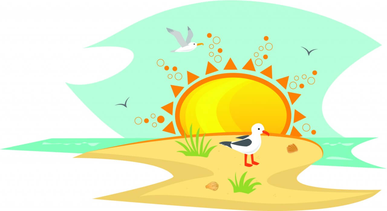 "Free vector ""Beach With Seagulls"""