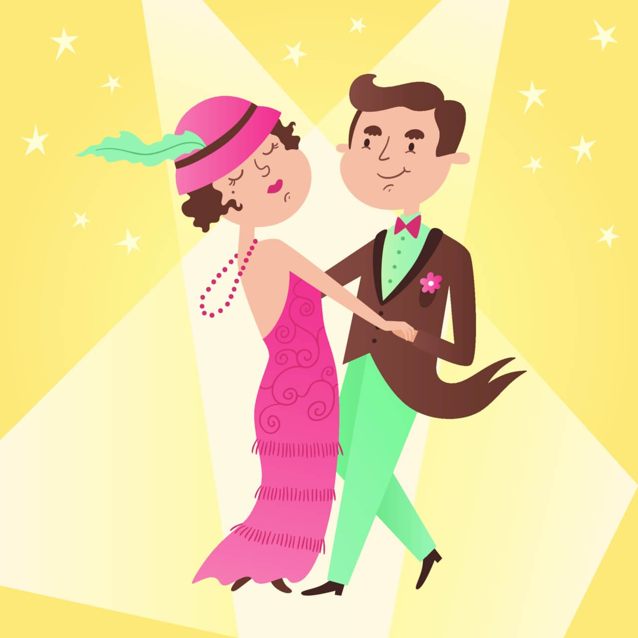 "Free vector ""Illustration of vintage dance couple"""