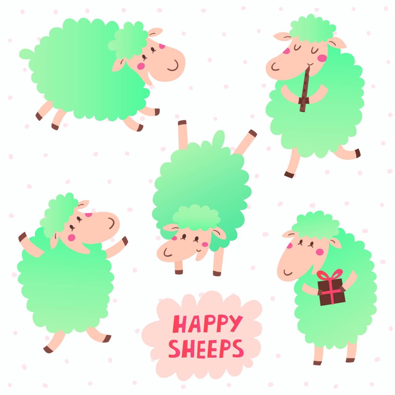 """Free vector """"Happy sheeps"""""""