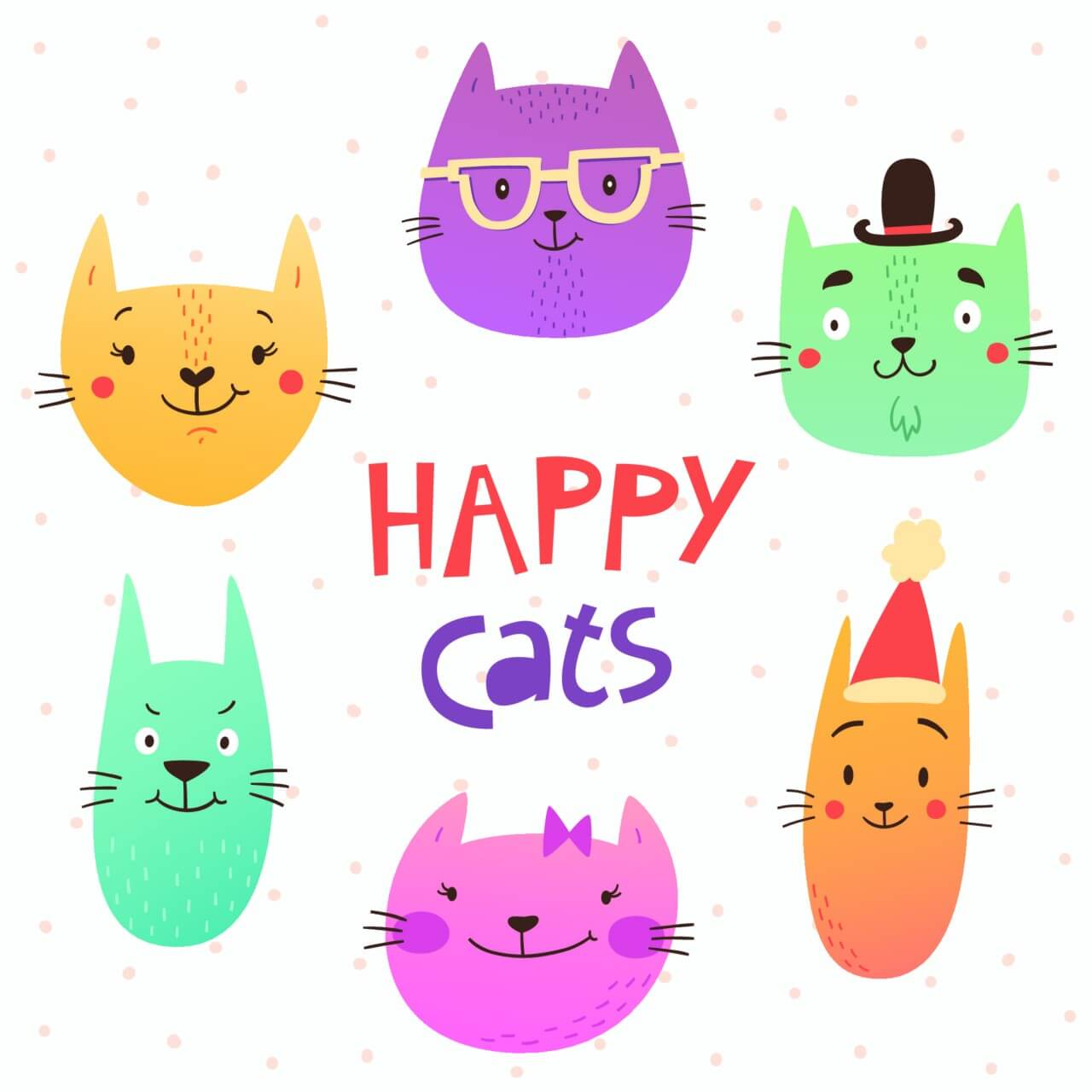 "Free vector ""Funny cats faces"""