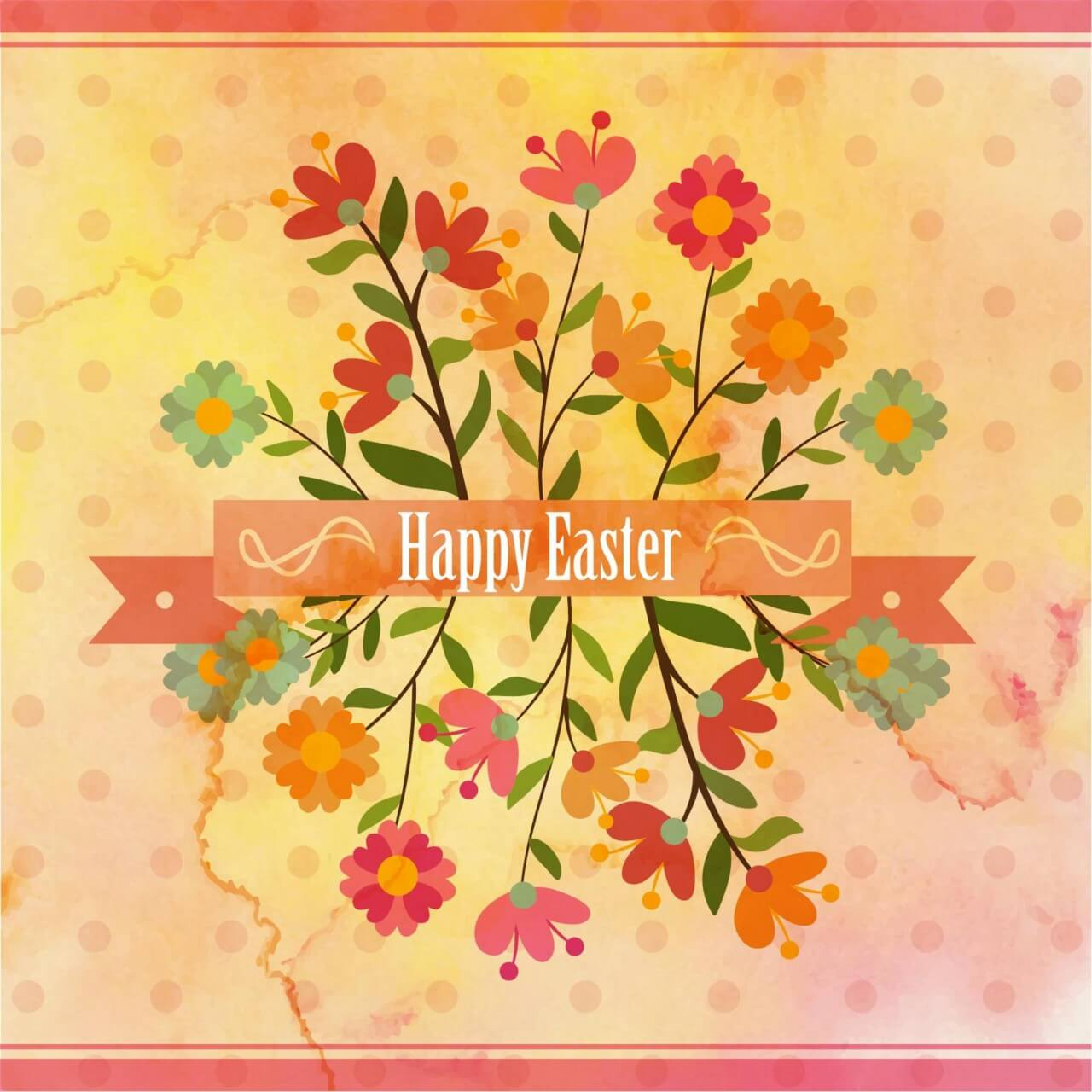 """Free vector """"Vintage easter illustration with flowers"""""""