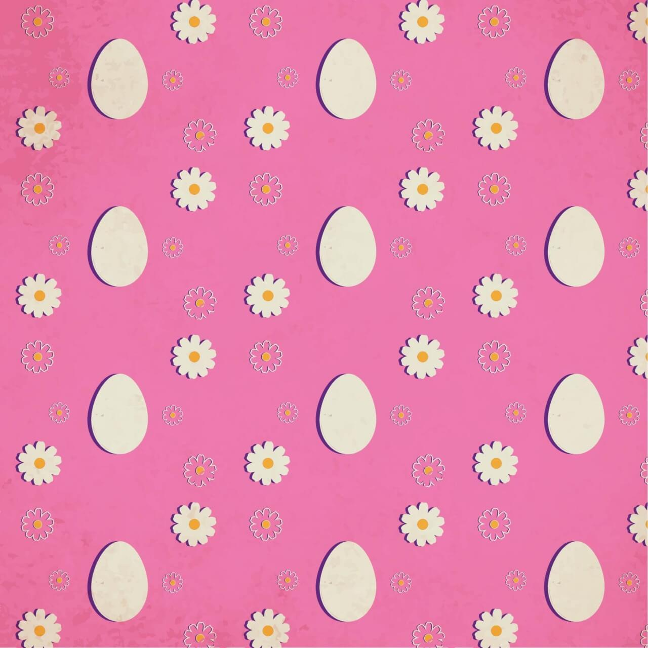 """Free vector """"Easter pattern with eggs and flowers"""""""