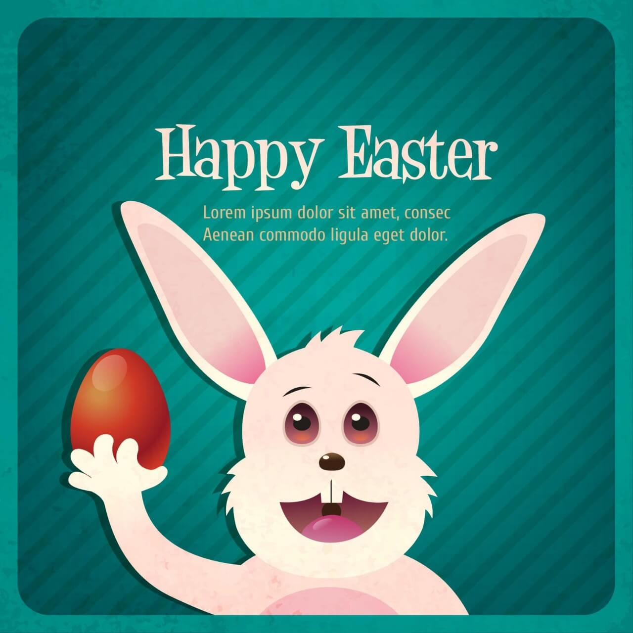 "Free vector ""Vintage easter illustration with rabbit"""