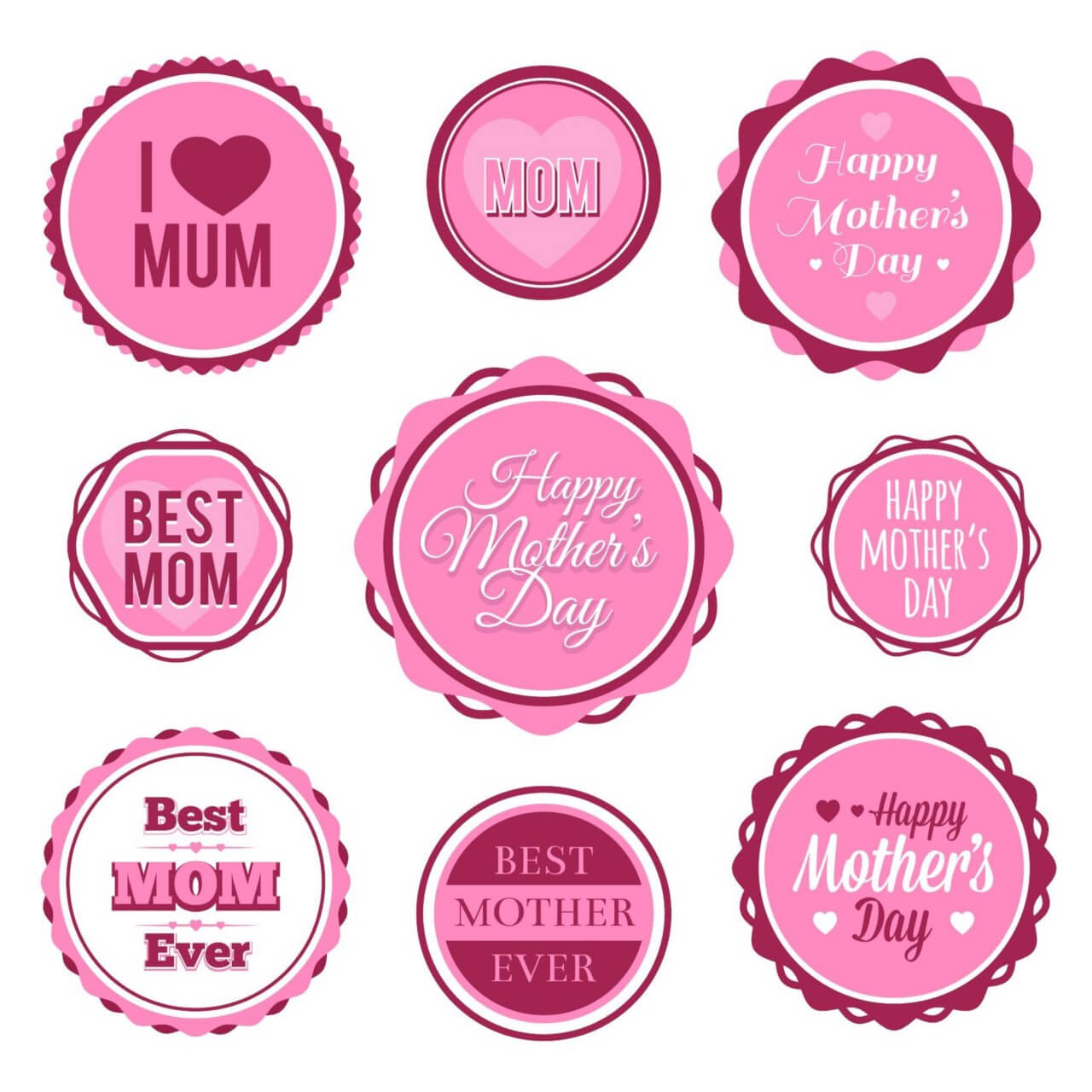 "Free vector ""Mother's Day Badges And Labels"""
