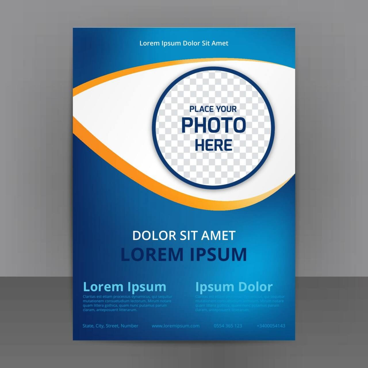 "Free vector ""Business Abstract Flyer Template With blue Background"""