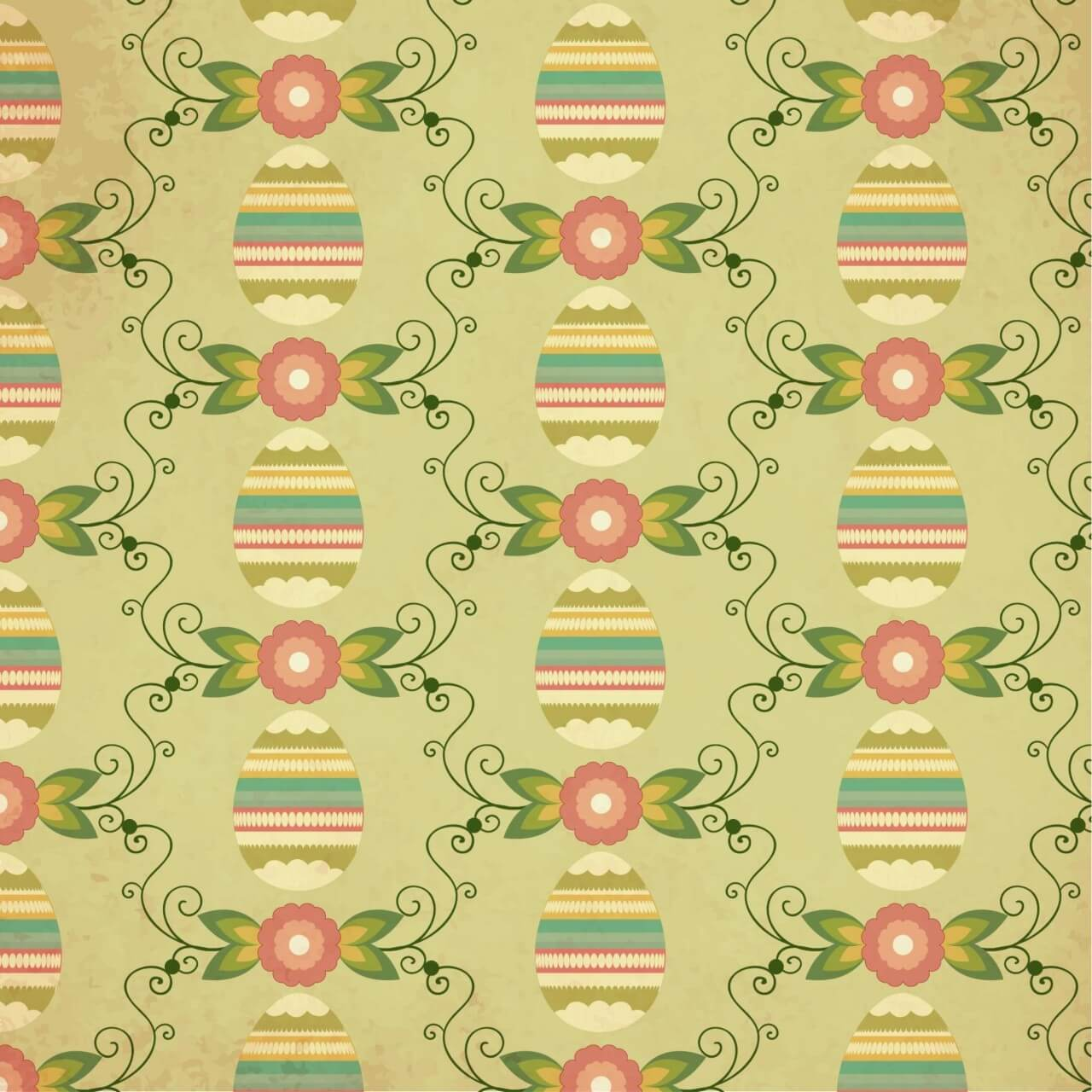 """Free vector """"Easter pattern with egg, flower and decoration"""""""