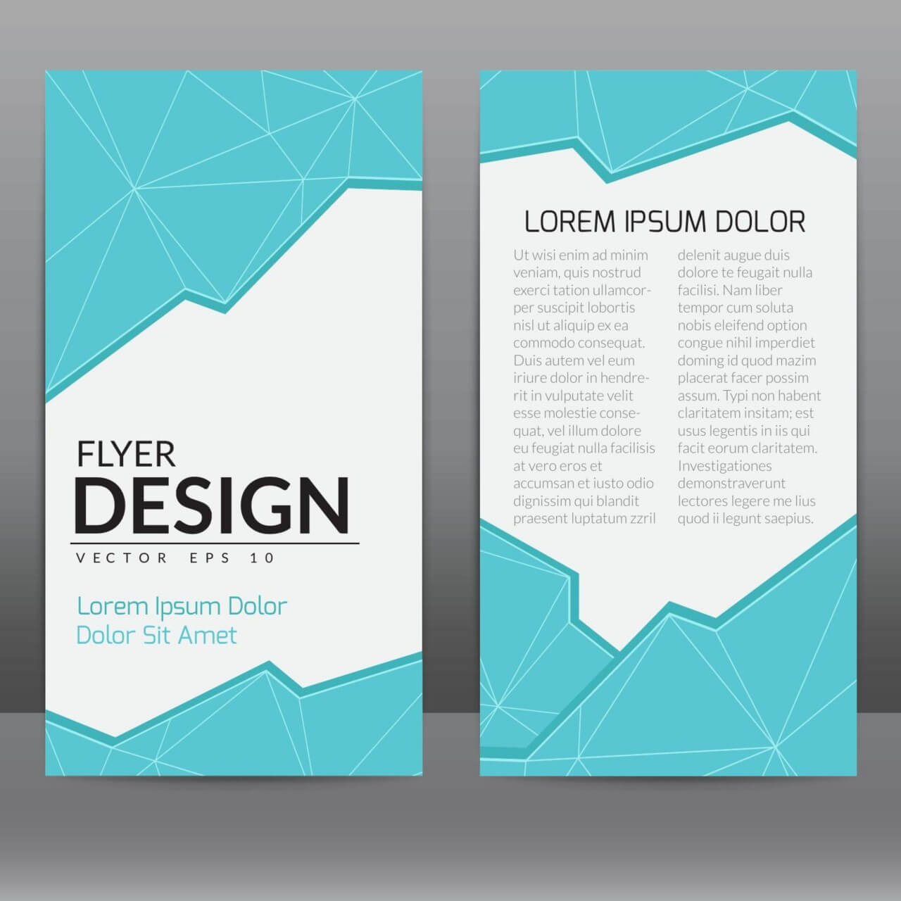 "Free vector ""Flyer Template With Blue Polygonal Background"""