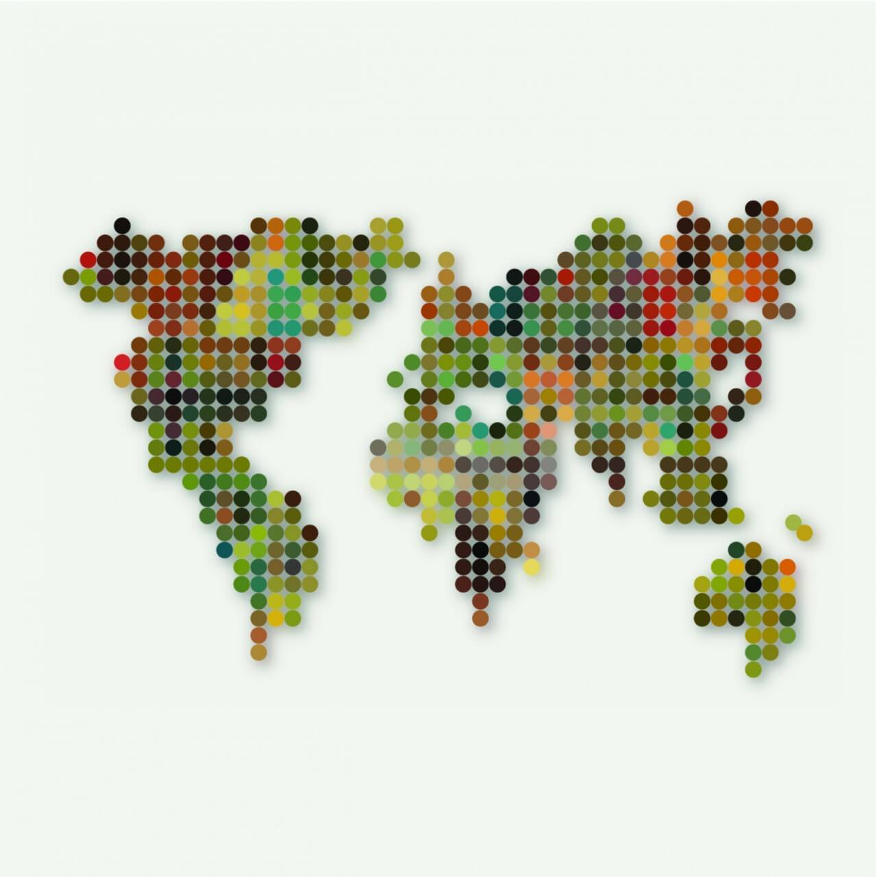 """Free vector """"Abstract colorful dot style world map pattern background"""""""