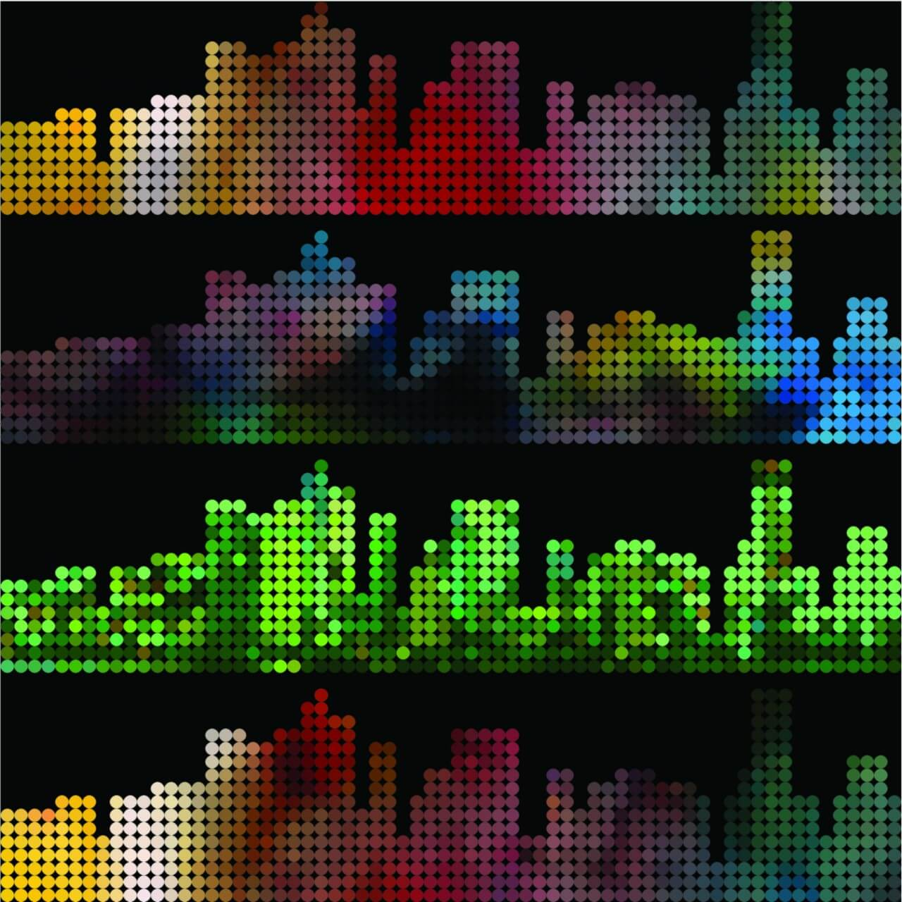 "Free vector ""Abstract colorful dot style city building pattern background"""