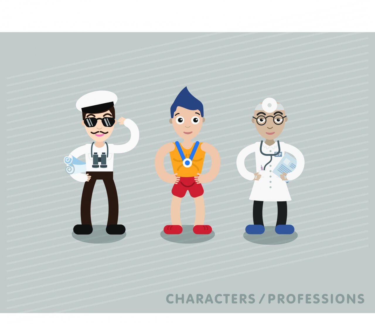 "Free vector ""Three characters in different professions: shipman, sportsman, doctor"""